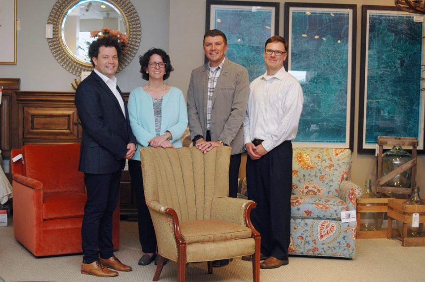 Left to right: Matt Huber, Belfort Furniture; Sara Fowler; Phil Garrett, Hooker Furniture and David Moldenhauer, Sam Moore.