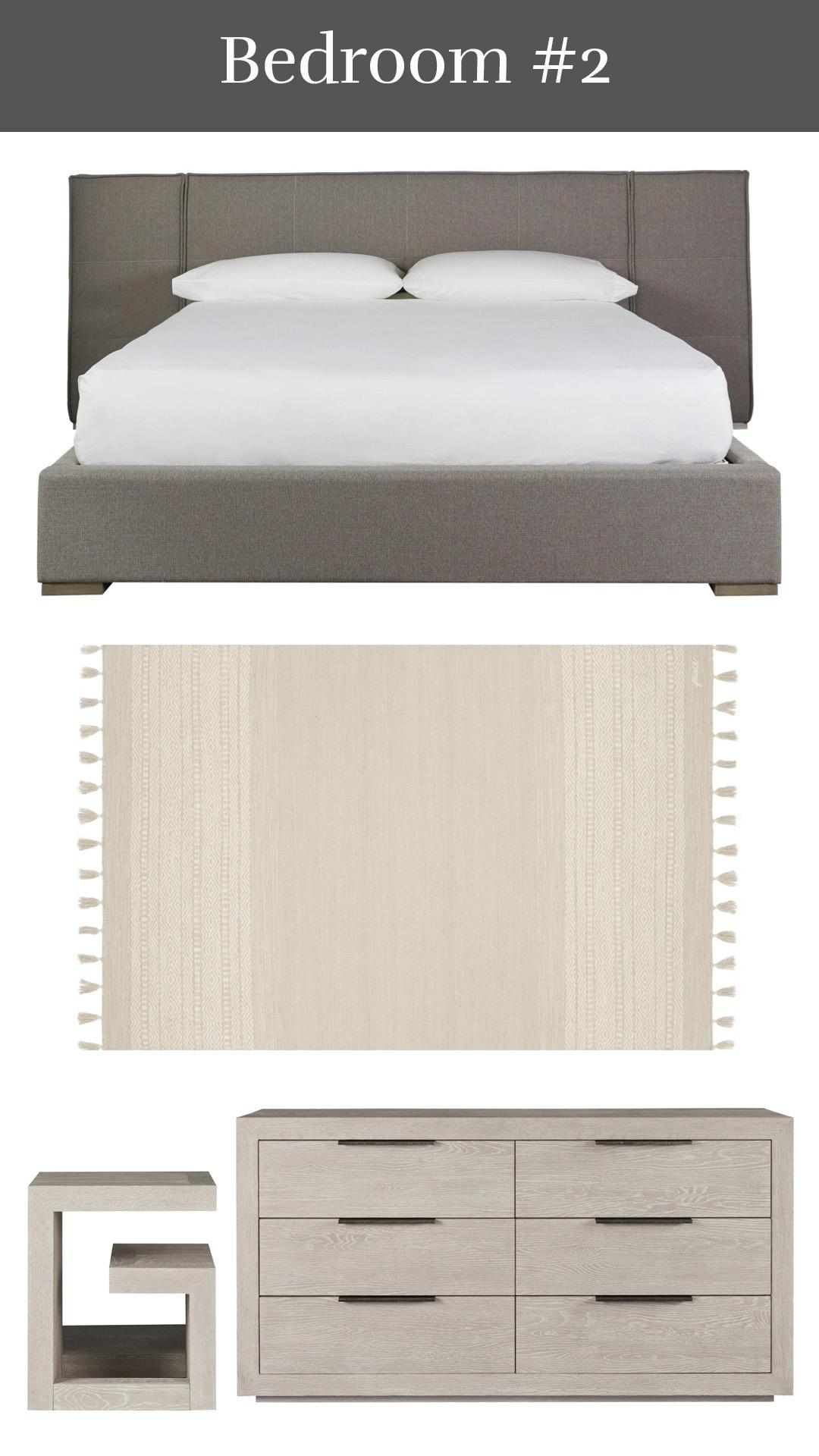 Modern Sophistication - Connery Upholstered Bed + Solano Rug + Huston Bedside Table & Dresser