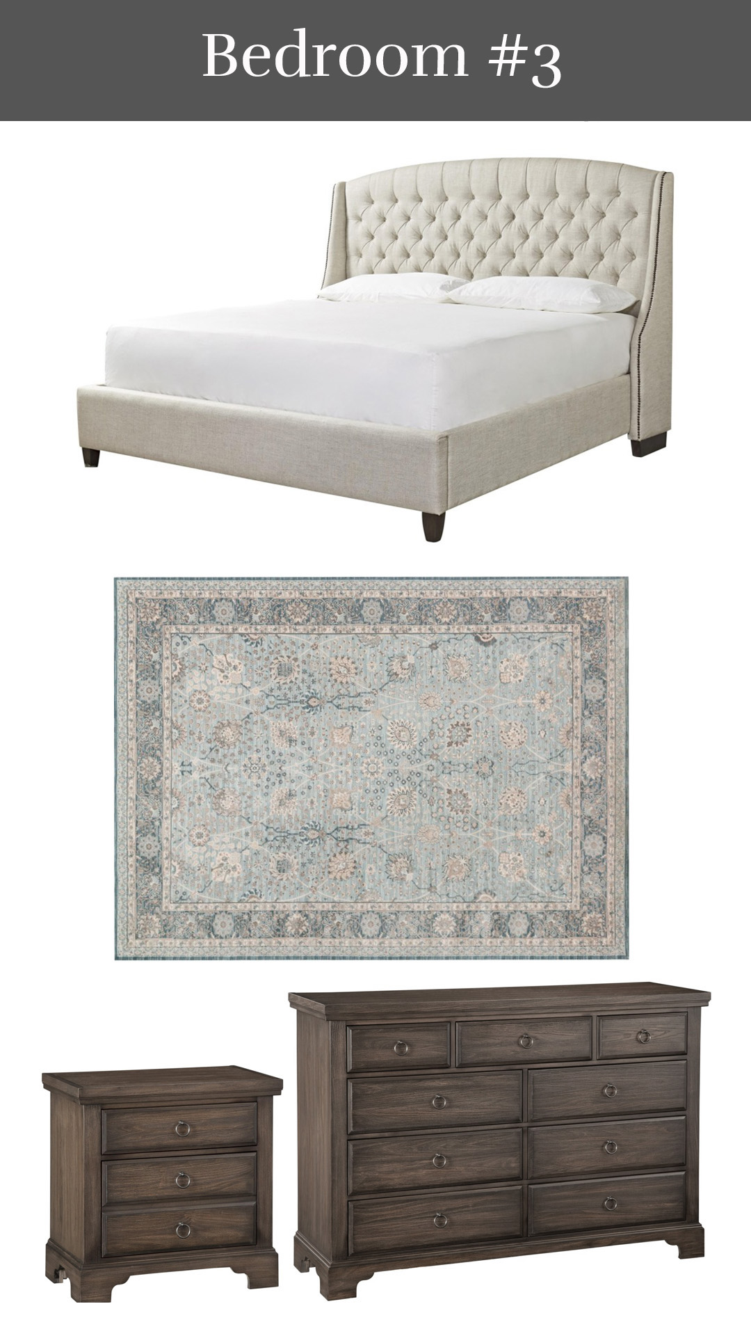 Classic Dreams - Halston Upholstered Bed + Ella Rose Rug + Whiskey Barrel Nightstand & Chesser