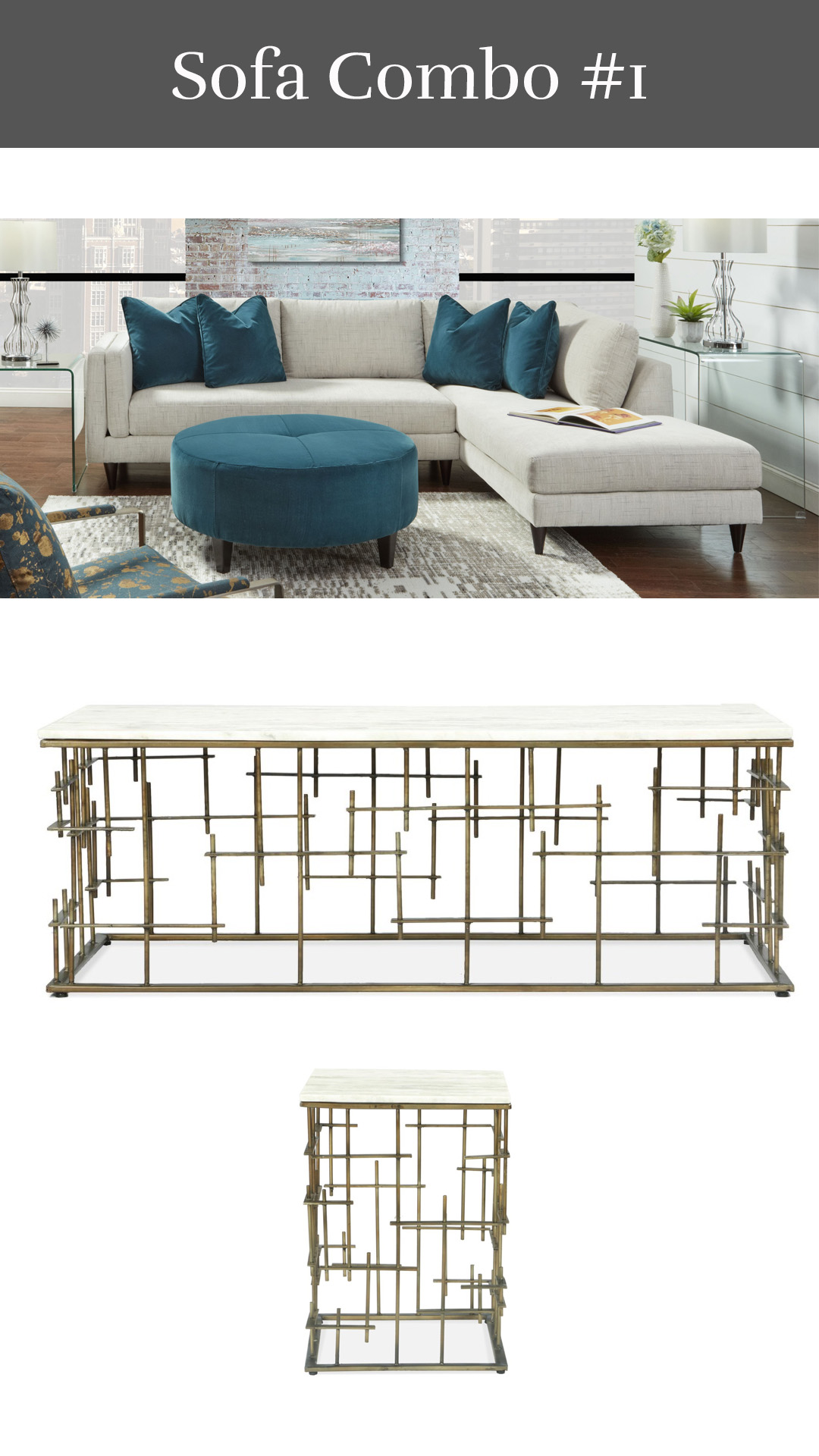 Brilliant Beauty - Braddock Sofa-Chaise + Jacquin Coffee Table & End Table
