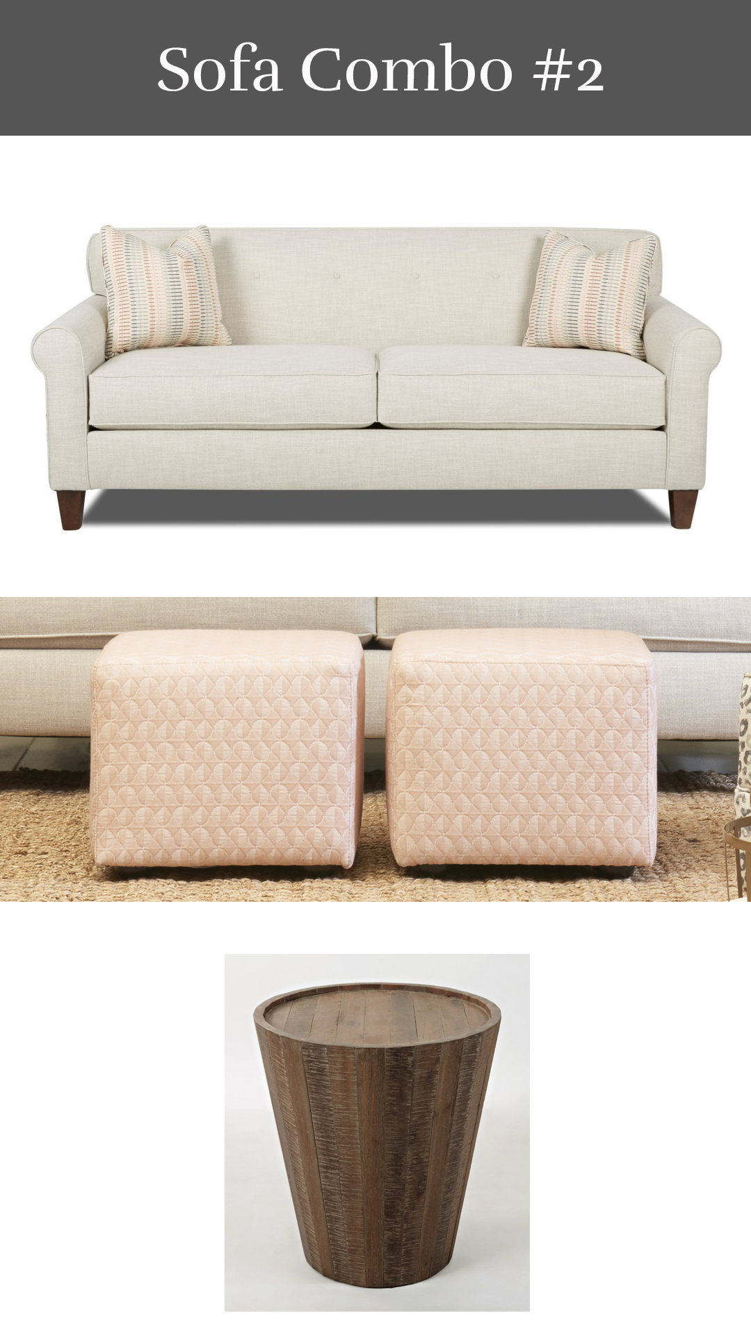 Millenial Pink - Katrina Sofa + Cube Ottoman + Conundrum End Table