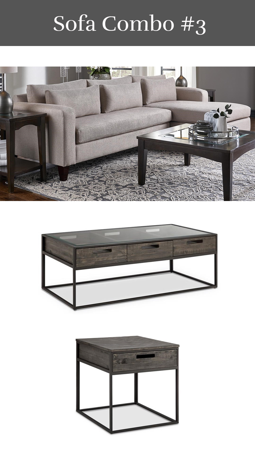 Updated Transitional - Parker Sofa Chaise + Claremont Cocktail Table & End Table
