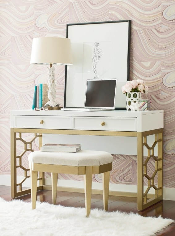 Chelsea's Glam White and Gold Desk - For the child who loves a little glam, this Chelsea desk is perfect! Two drawers allow ample storage and a sleek design mixing white and gold makes this desk stand out from the rest. The matching upholstered stool is perfect for a complete look.