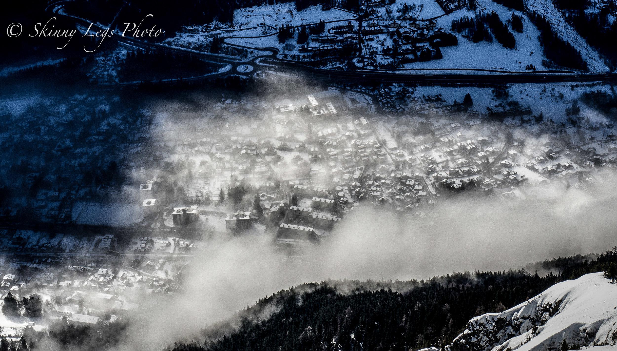 Chamonix in early morning mist