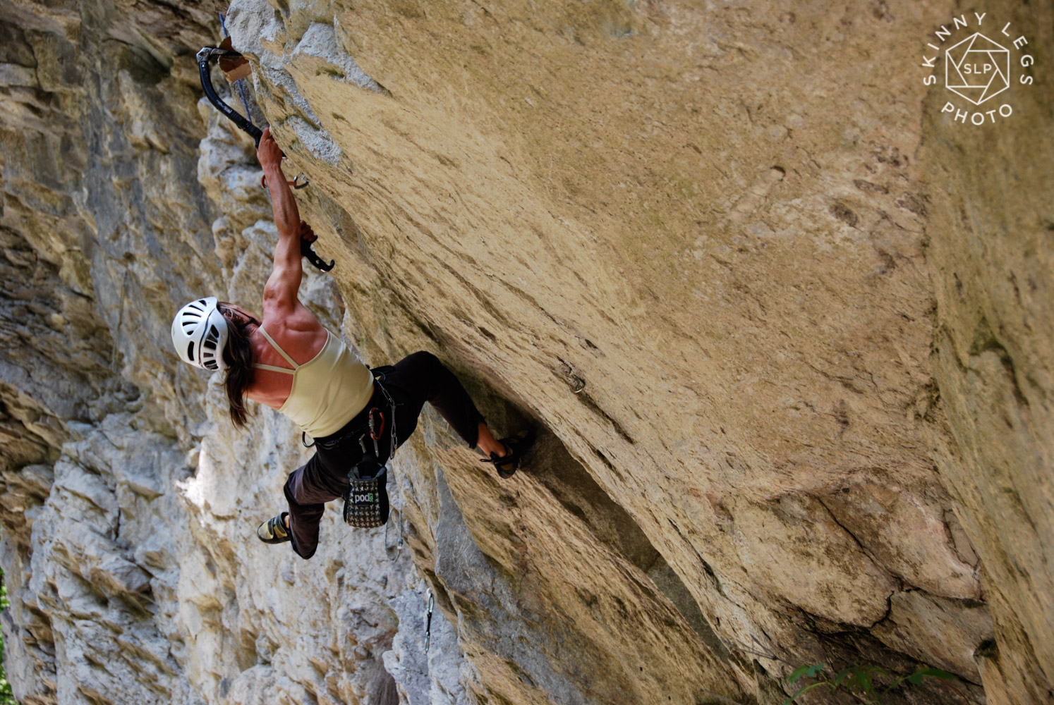 This is how we drytool - Isabelle Santoire cranking up one of the 'easier' routes at the venue.