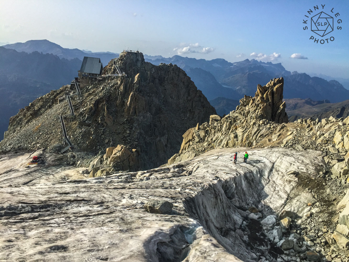 Scarily dry on the Glacier des Grands Montets.