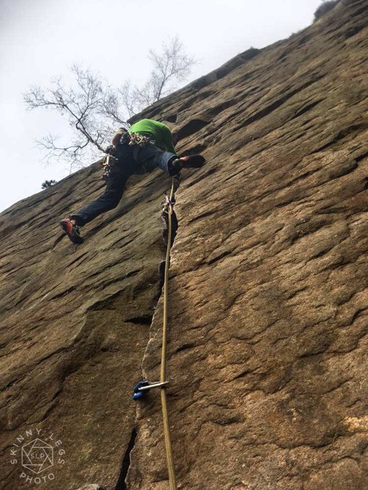 3* E1 climbing at Millstone Edge.