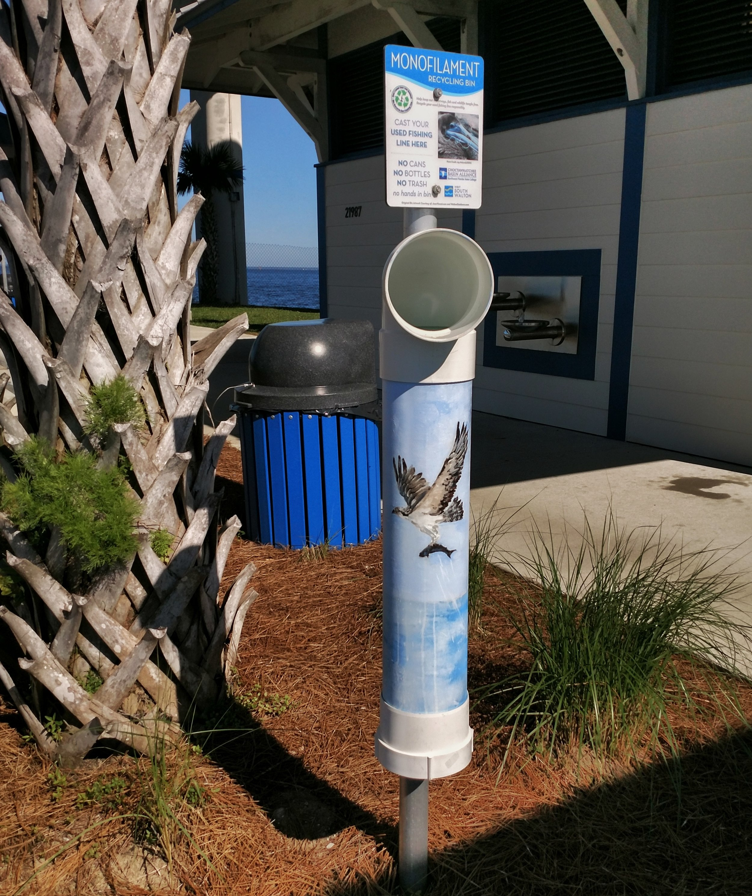 Monofilament collection bins have been placed in several locations along the Emerald Coast, boasting colorful designs by local artists.