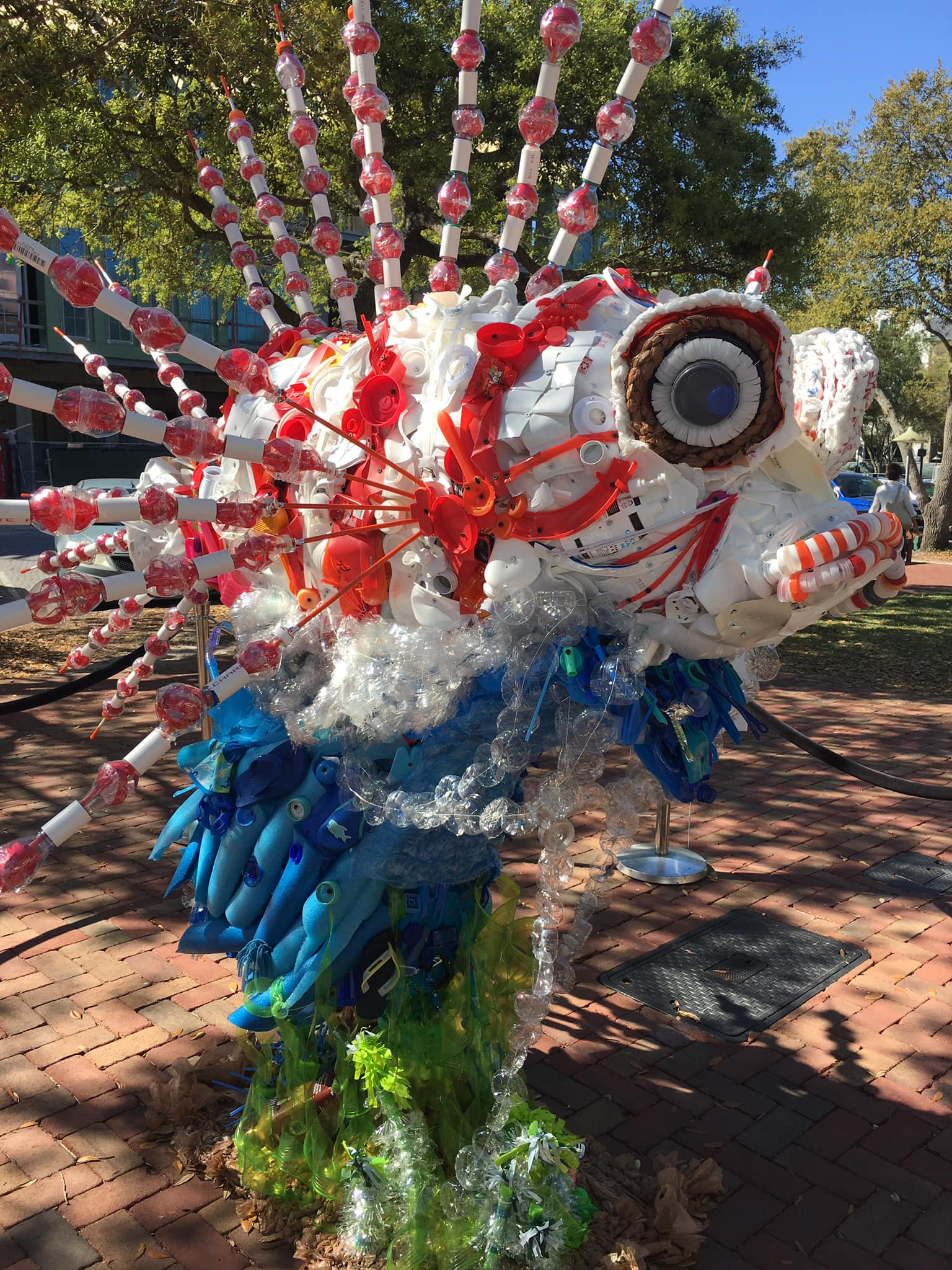 """Titled """"Invasive,"""" this sculpture made from debris aims to raise awareness of the problem of single-use plastic."""