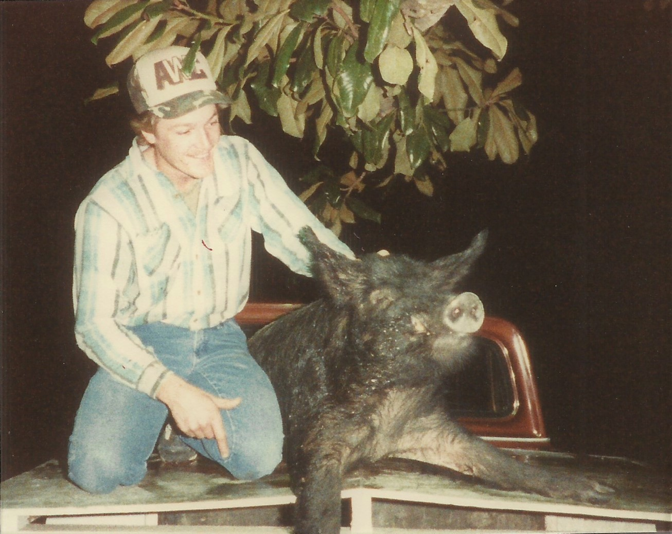 Kevin Hamm's 1987 deer hunt yielded unexpected results when he crossed paths with this massive wild hog in southern Mississippi.