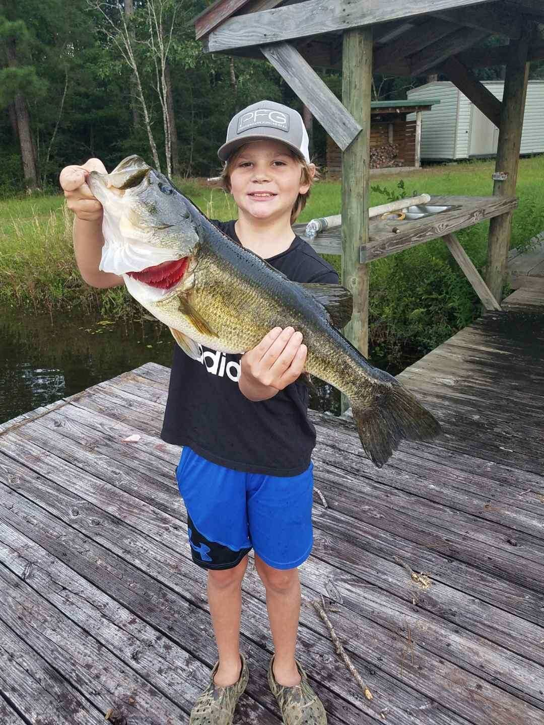 Photo: Ernie Martin  This 8-pound bass was caught from a private lake by Austin Seymour in Laurel Hill.