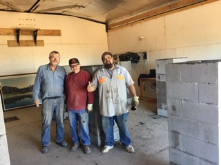 Don Van Akker (left), Michael Hensley (Center) and Vince Laupola are the crew working on this new building. If they look tired, it is because they are!