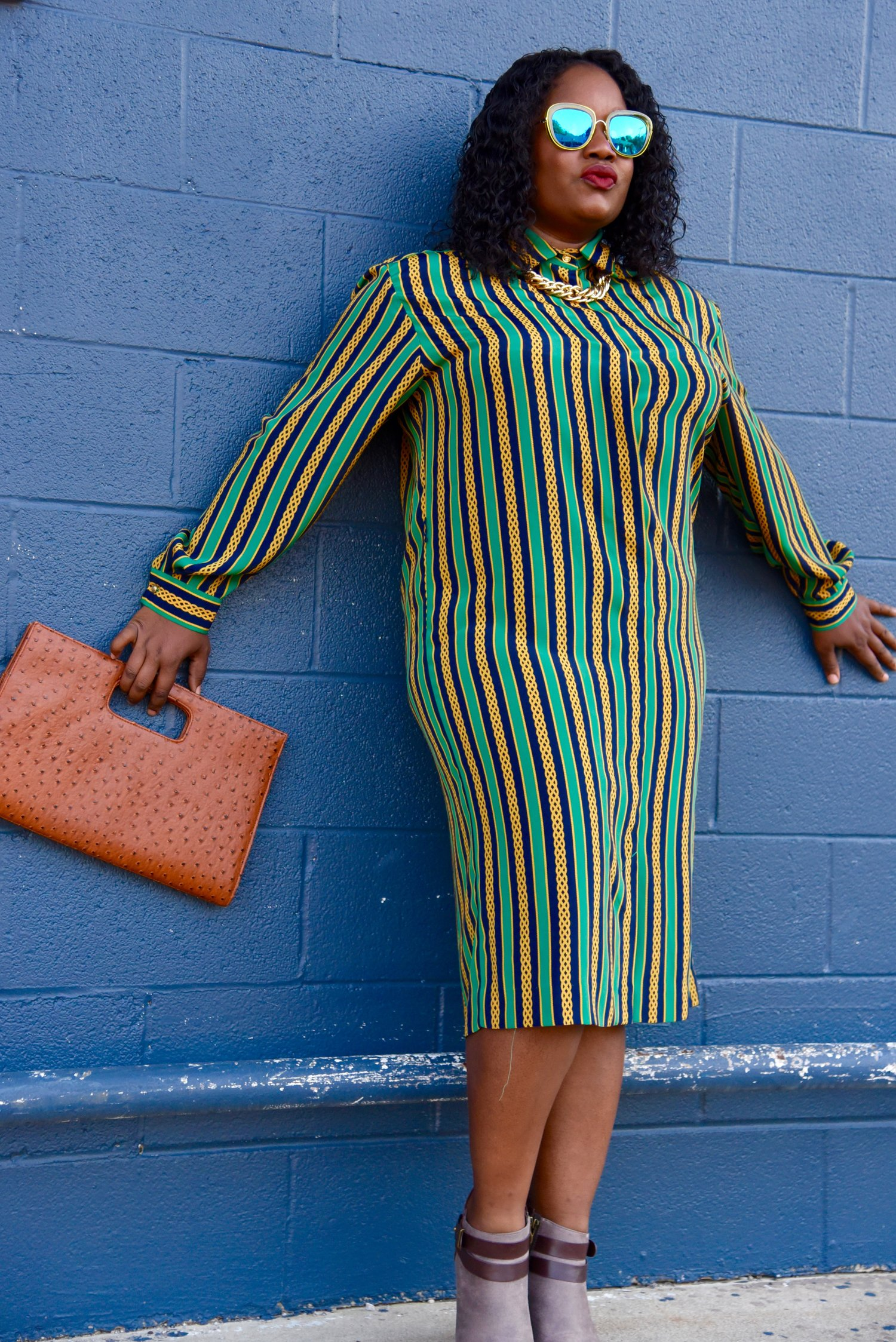 The Gold, Navy, and Money Green Chained Dress.