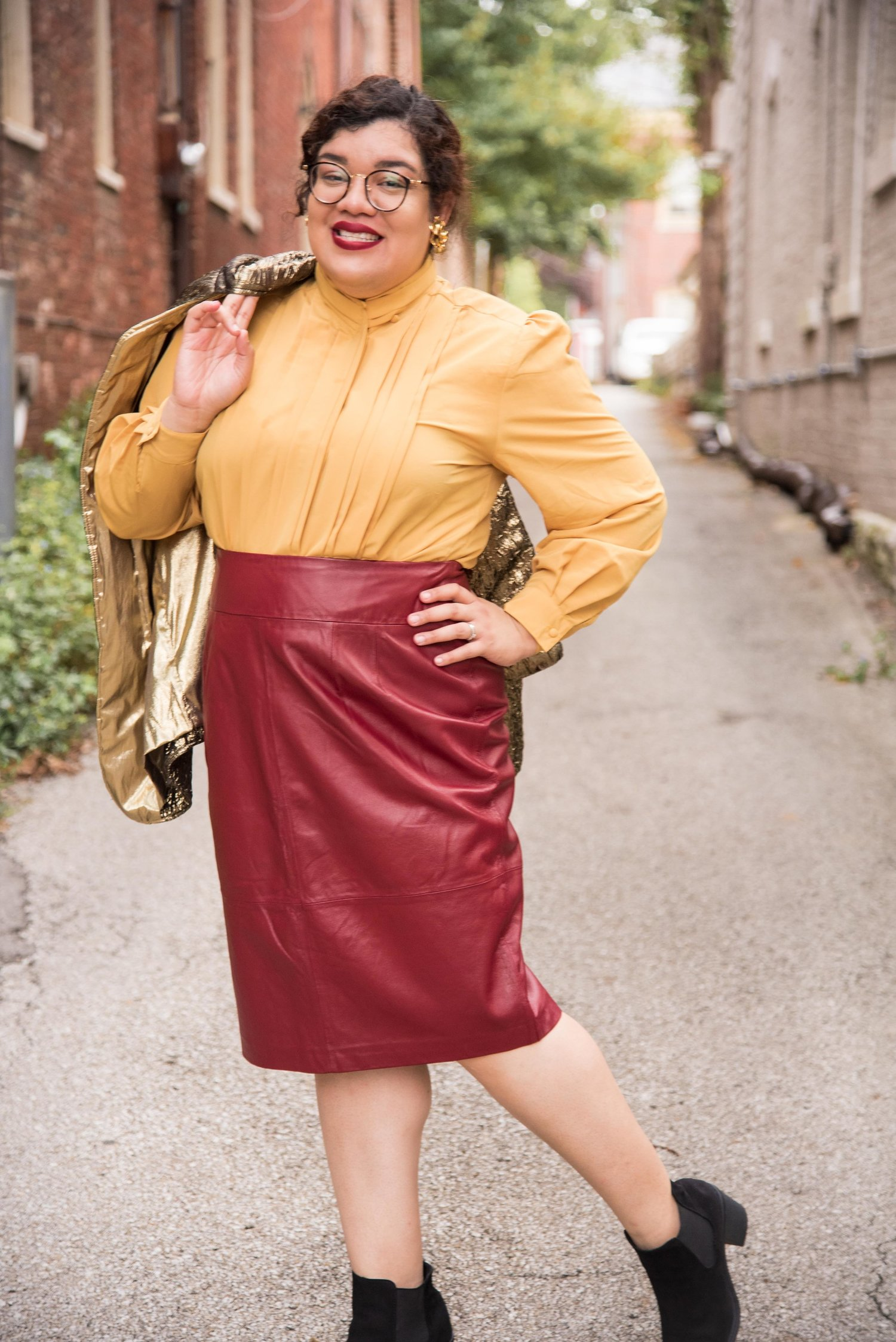 The Bold Leather Burgundy Skirt.