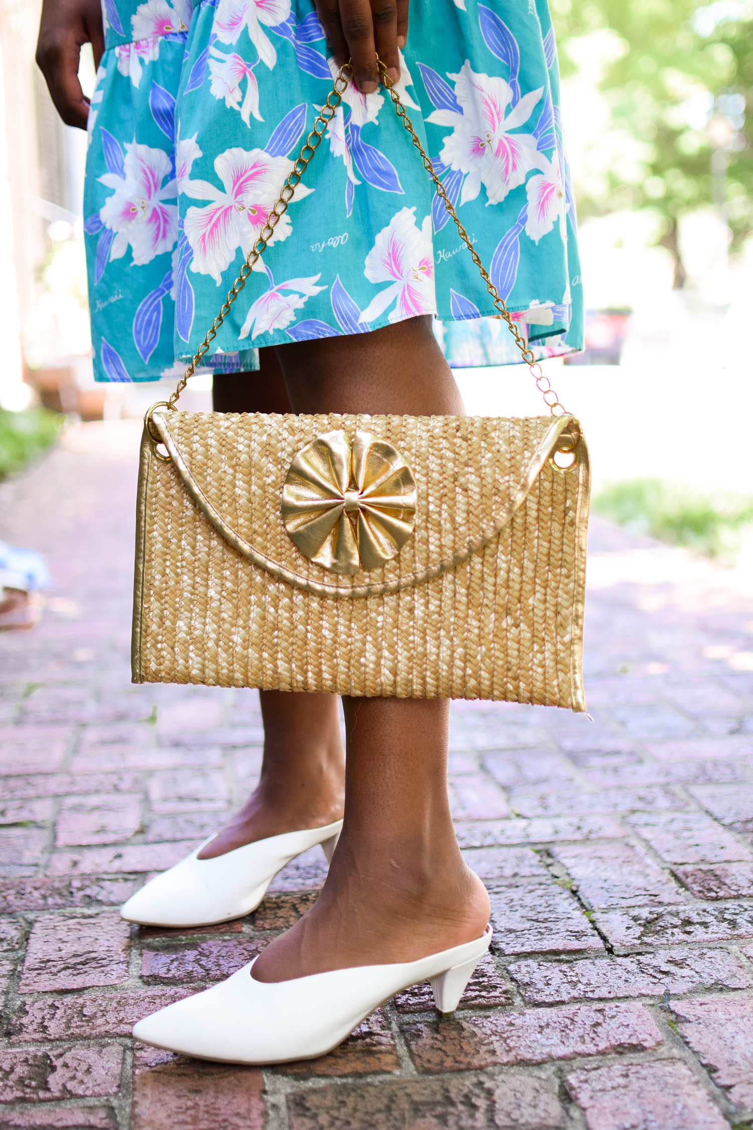 The Gold Trimmed Straw Handbag.
