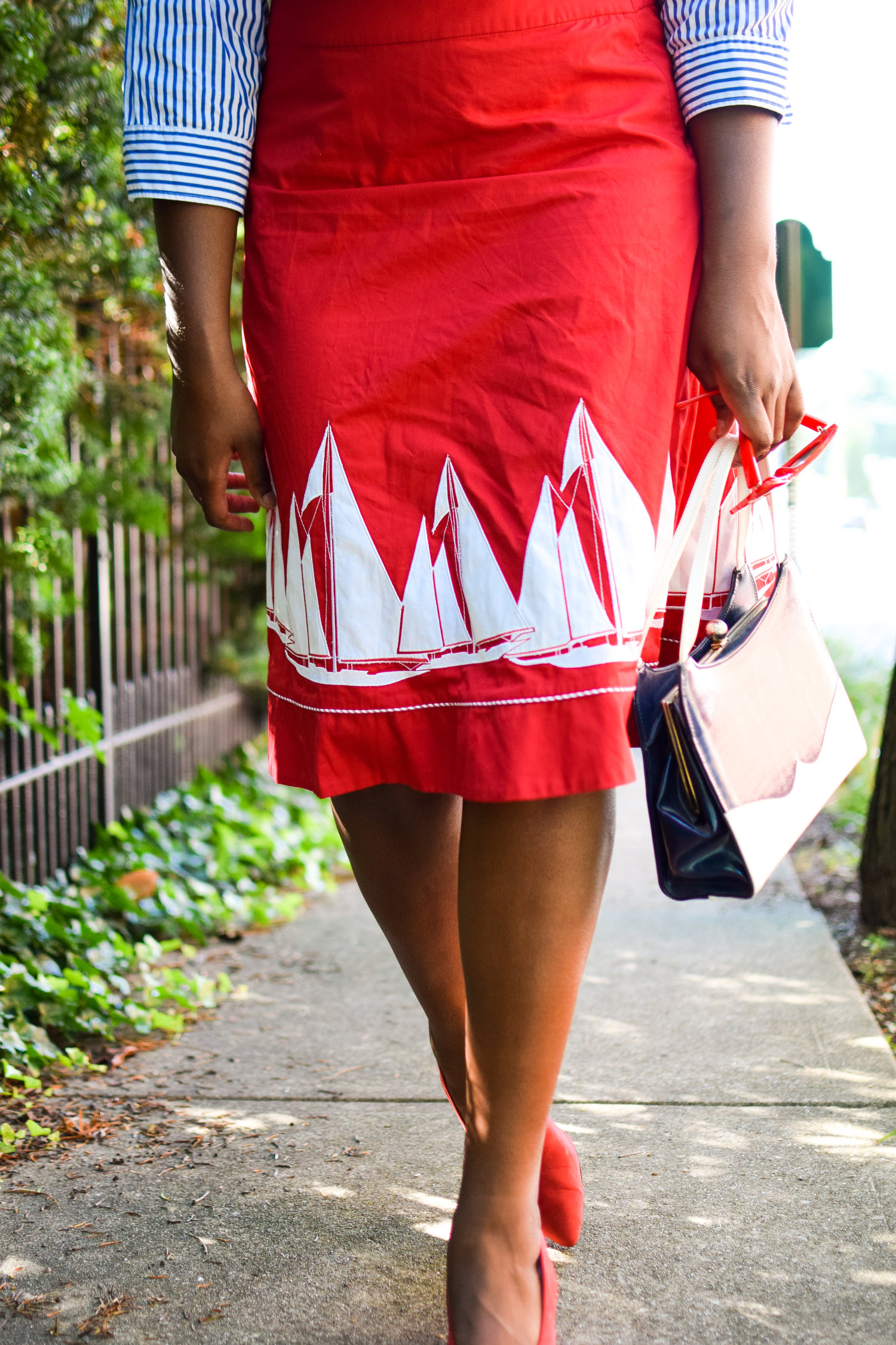 The Red and White Detailed Sailor Skirt.