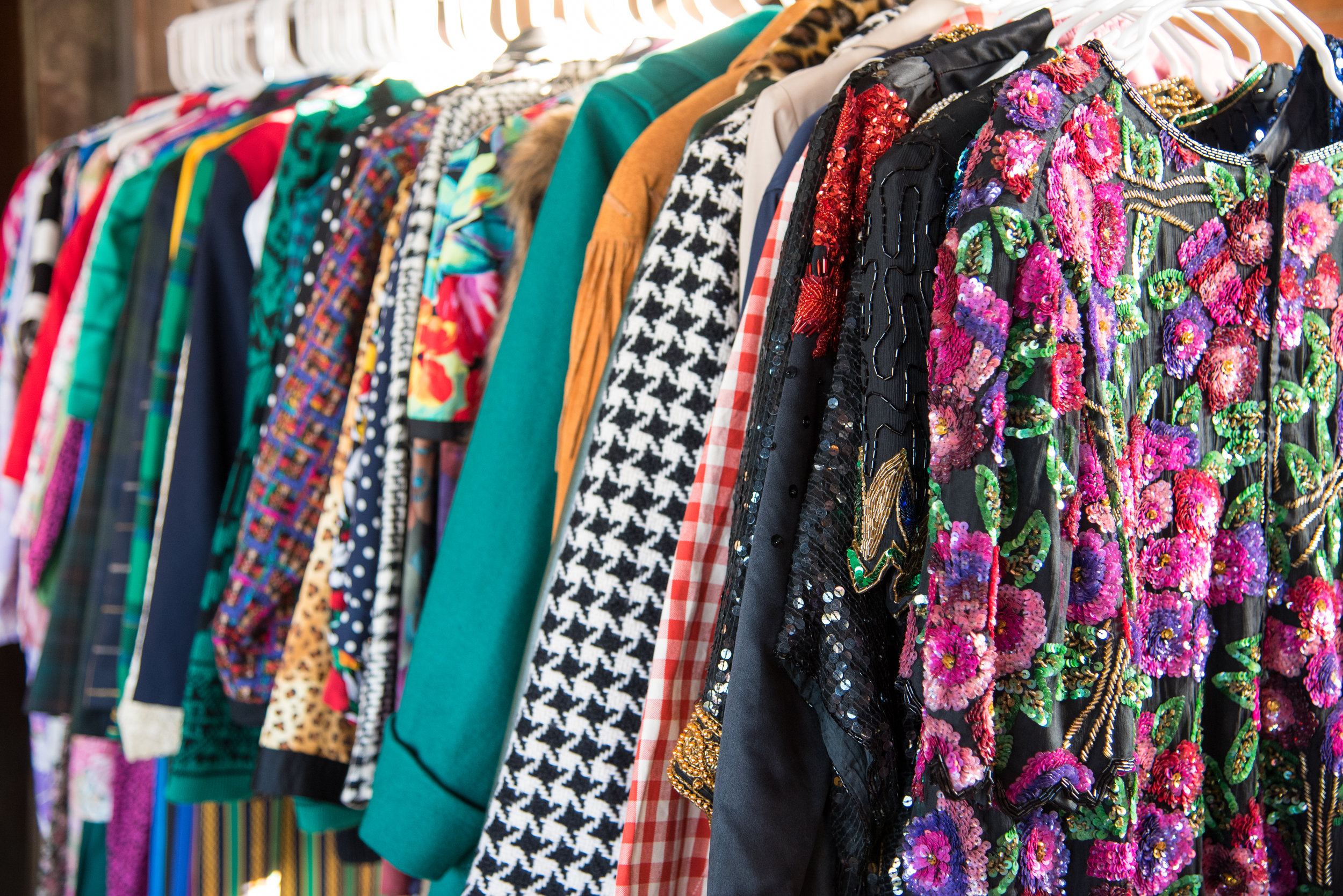A rack full of sequin, gingham, leopard, and solid colored statements is a win!