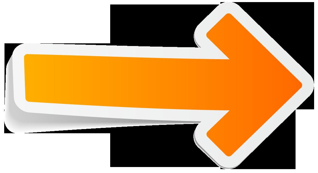 Orange arrow graphic that resembles a sticker