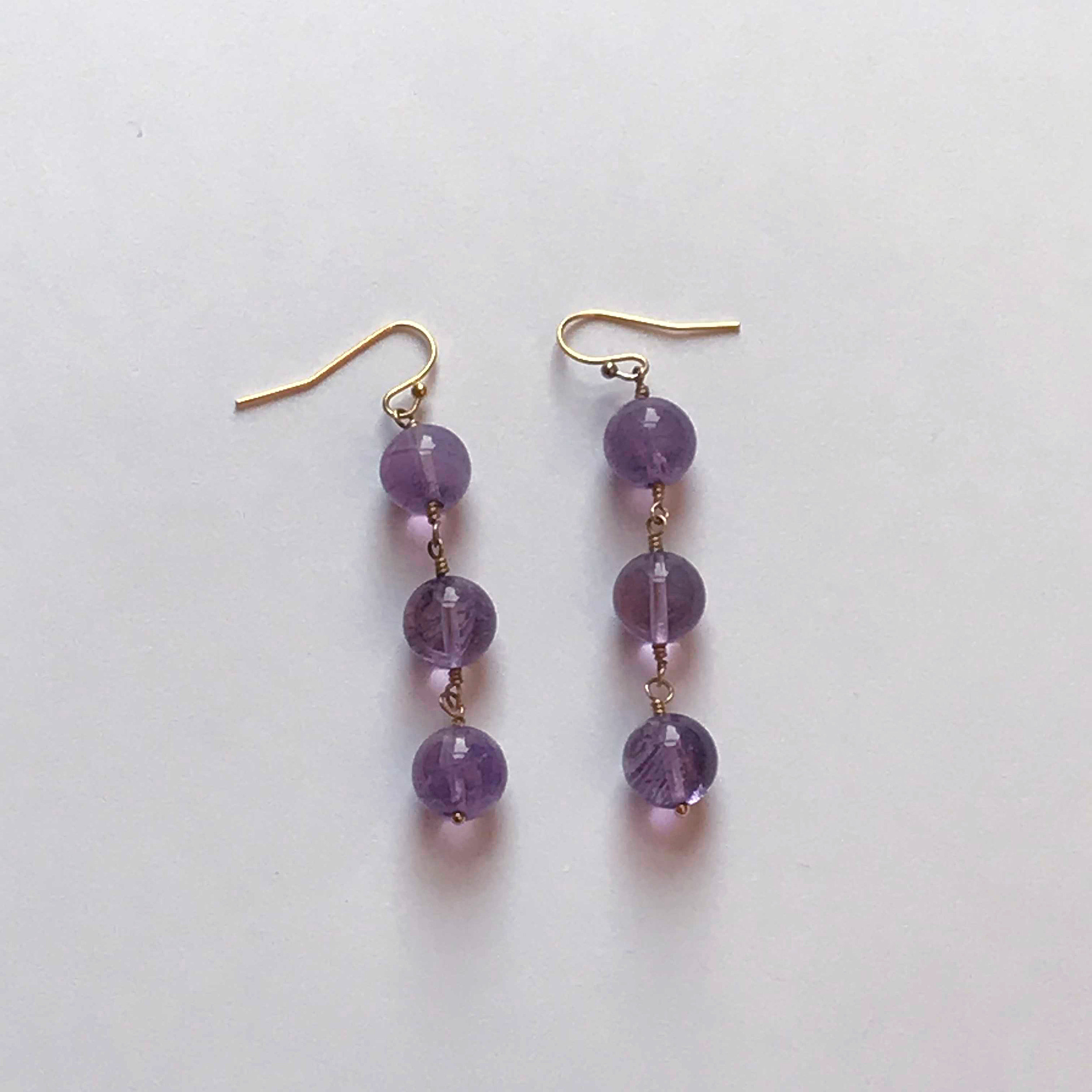 $75 Gold Filled Amethyst Trio Dangle Earrings