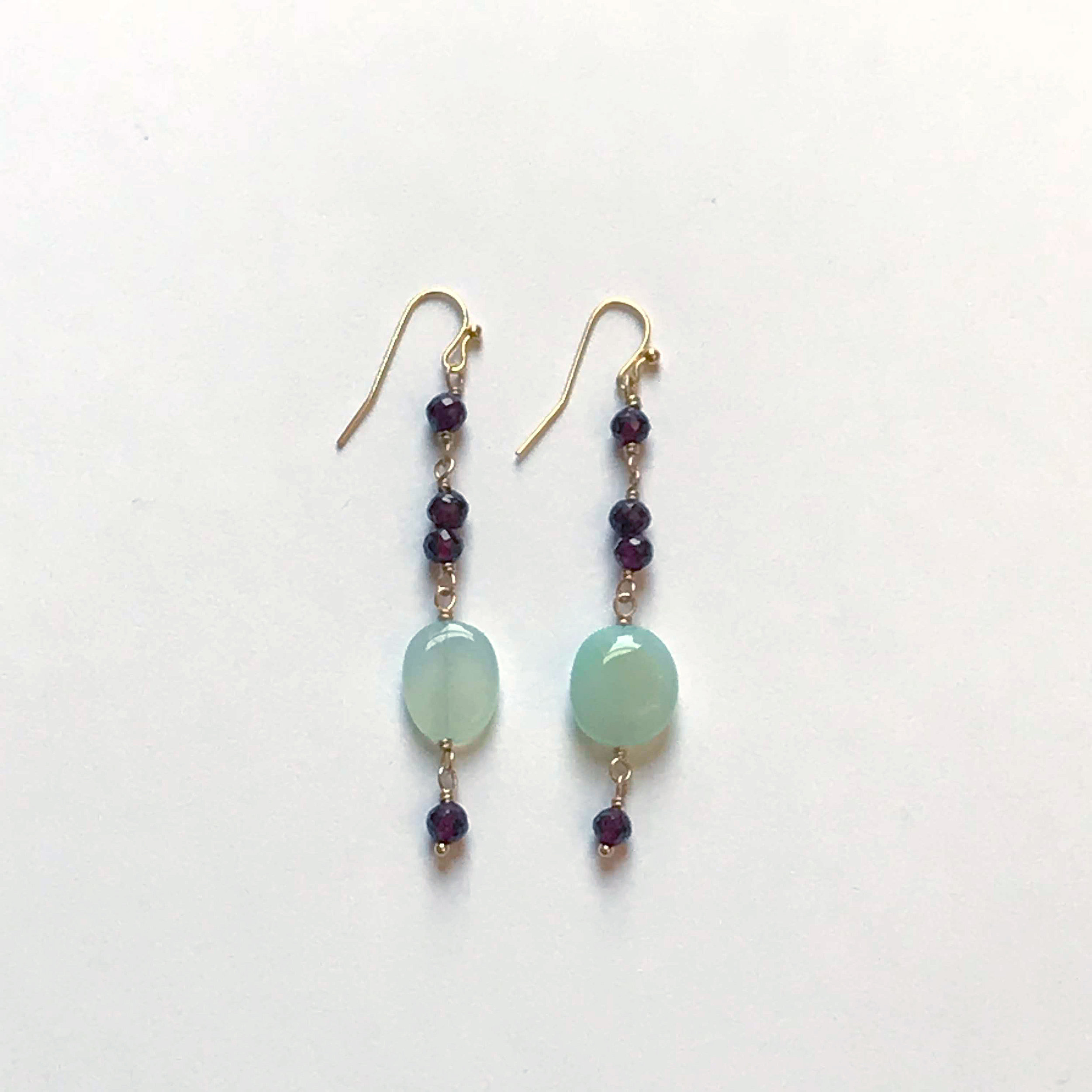 $325 Gold Filled Chalcedony Garnet Earrings