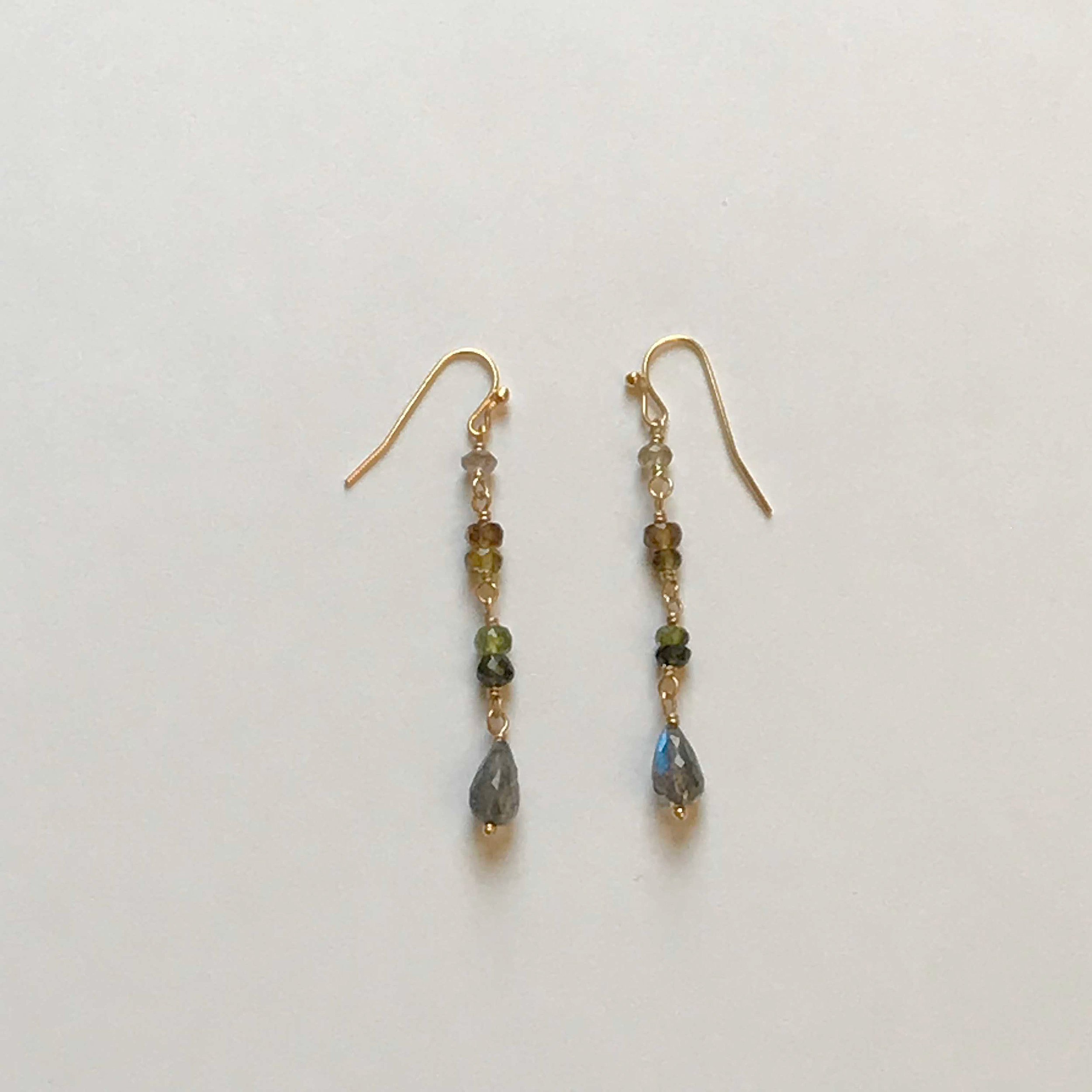 $135 Gold Filled Labradorite Tourmaline Earrings