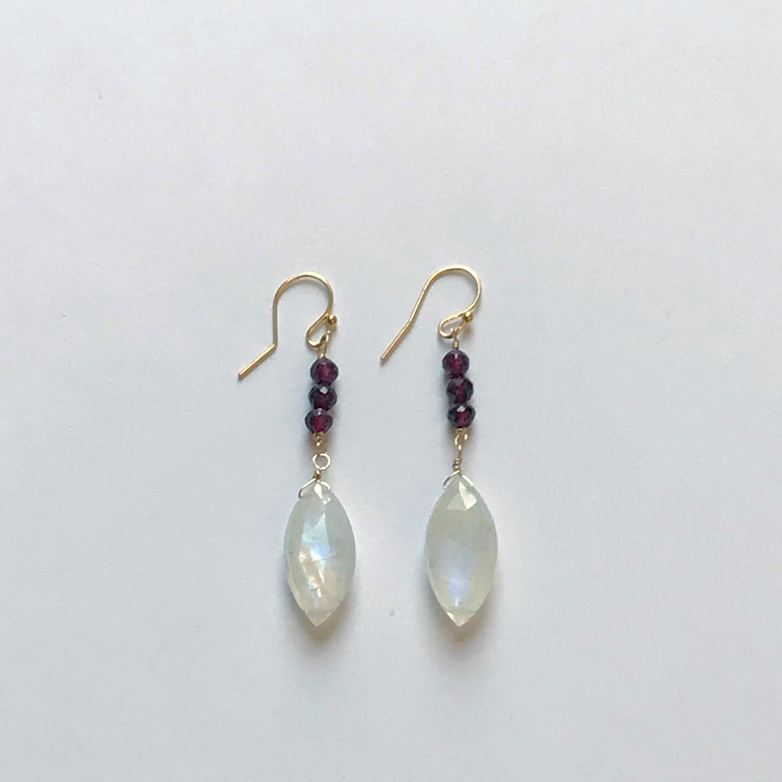 $225 Gold Filled Rainbow Moonstone Garnet Earrings