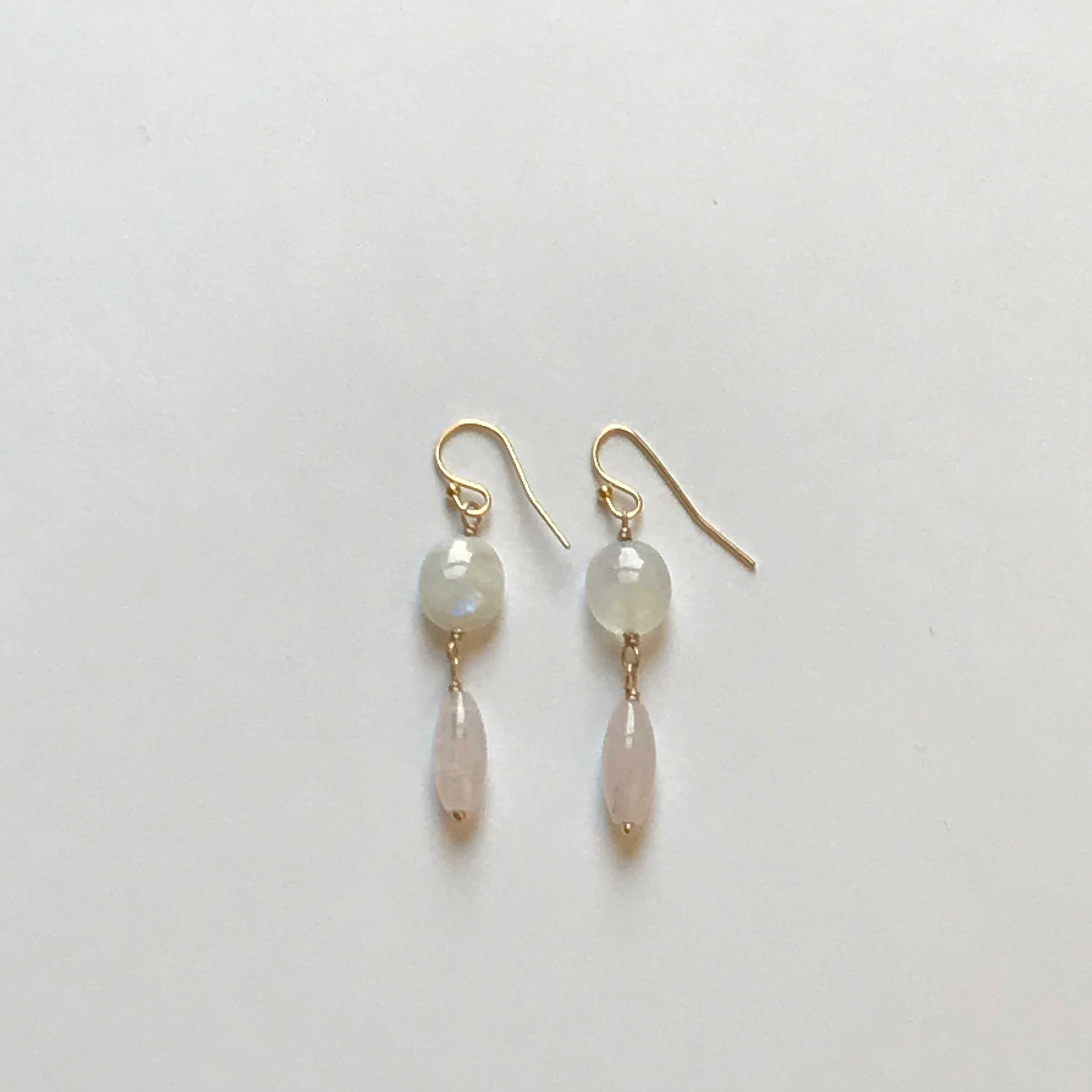 $155 Gold Filled Rainbow Moonstone Rose Quartz Earrings