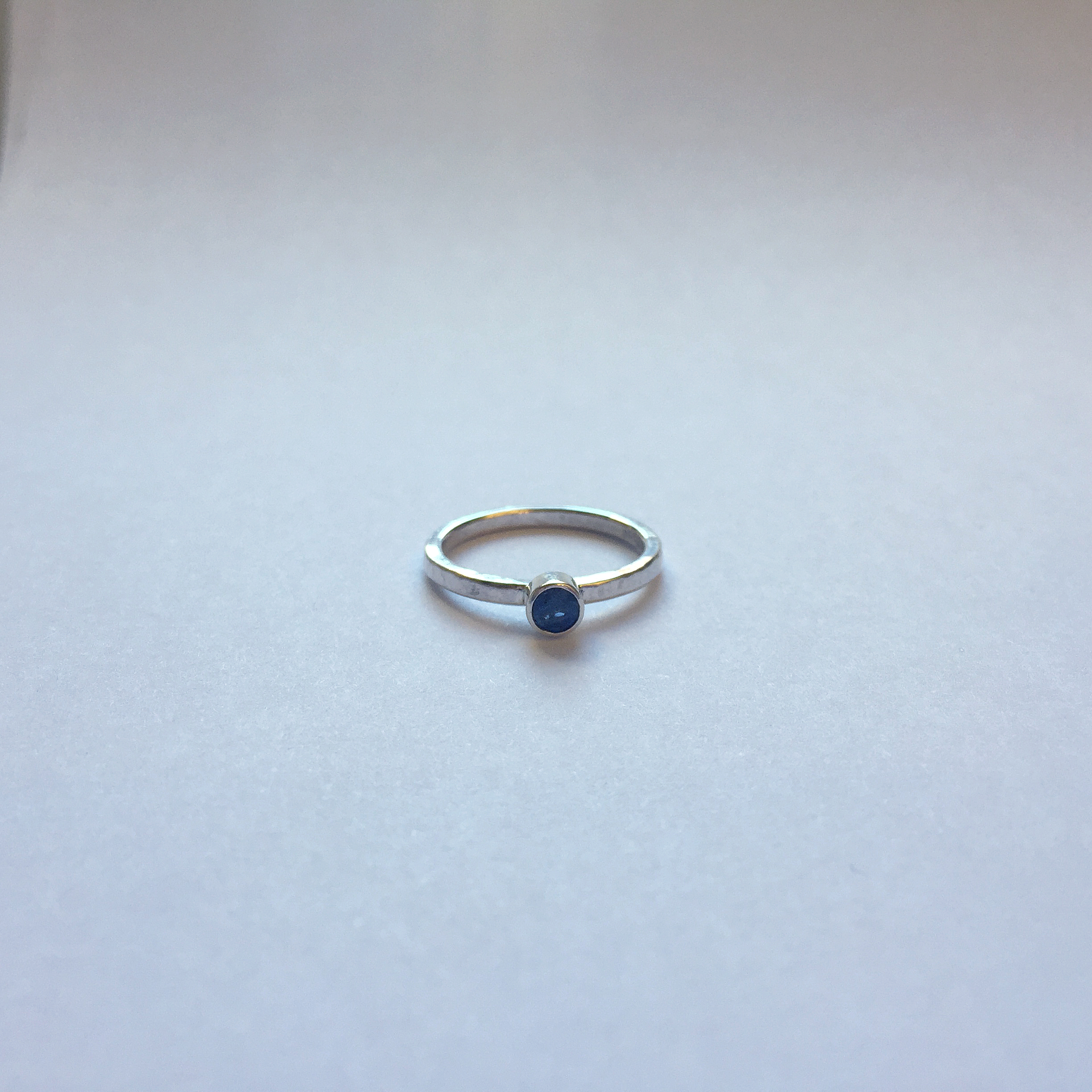 $50 Sterling Silver & Round Faceted Sapphire Ring