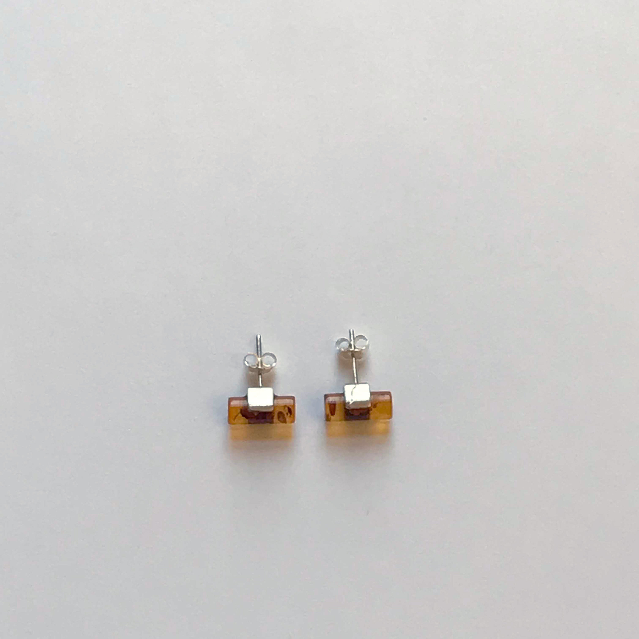 $75 Sterling Silver and Amber Stud Earrings