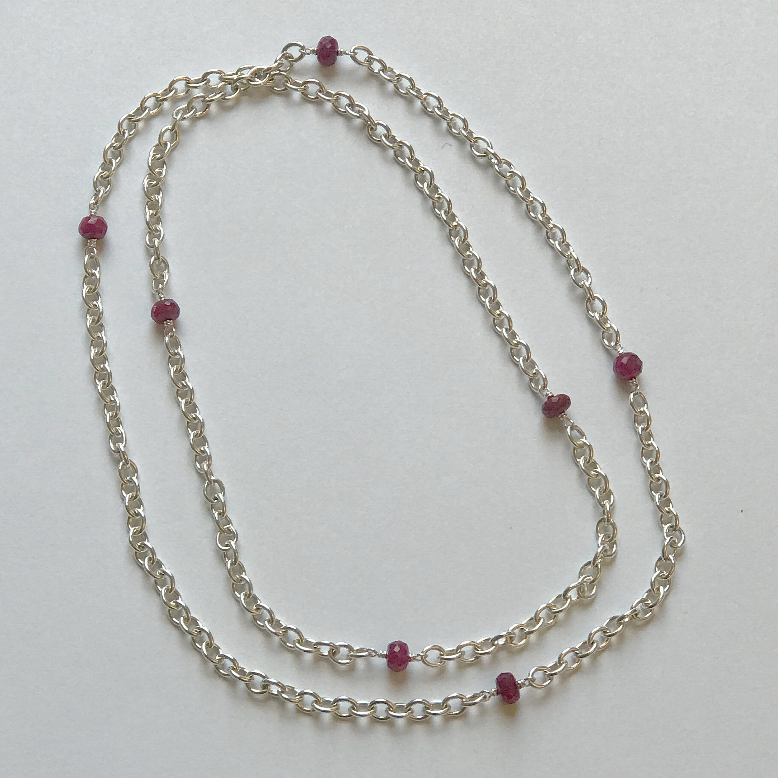 "$350 Sterling Silver Dyed Ruby Necklace 27"" Total"