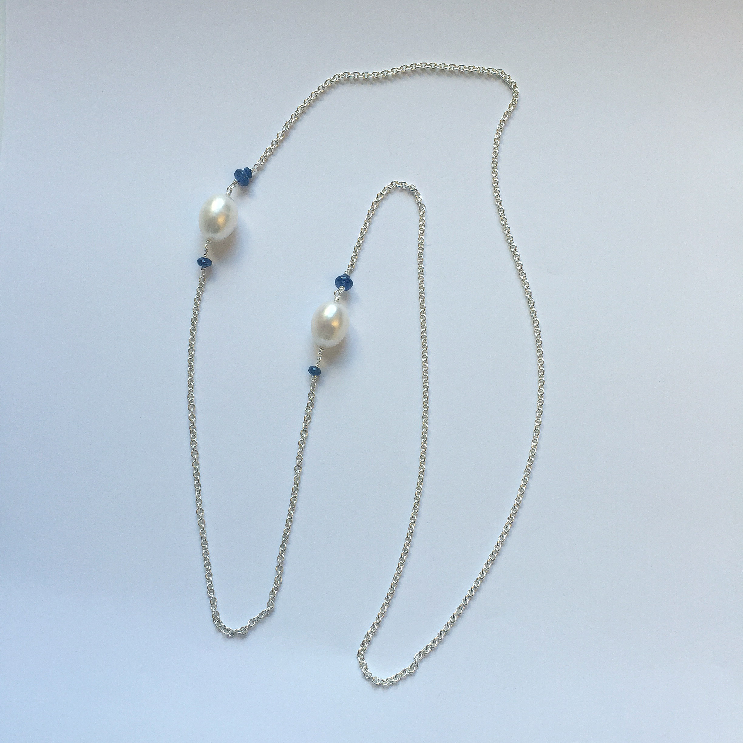 $450 Sterling Silver Fresh Water Pearl & Sapphire Necklace Total 28""