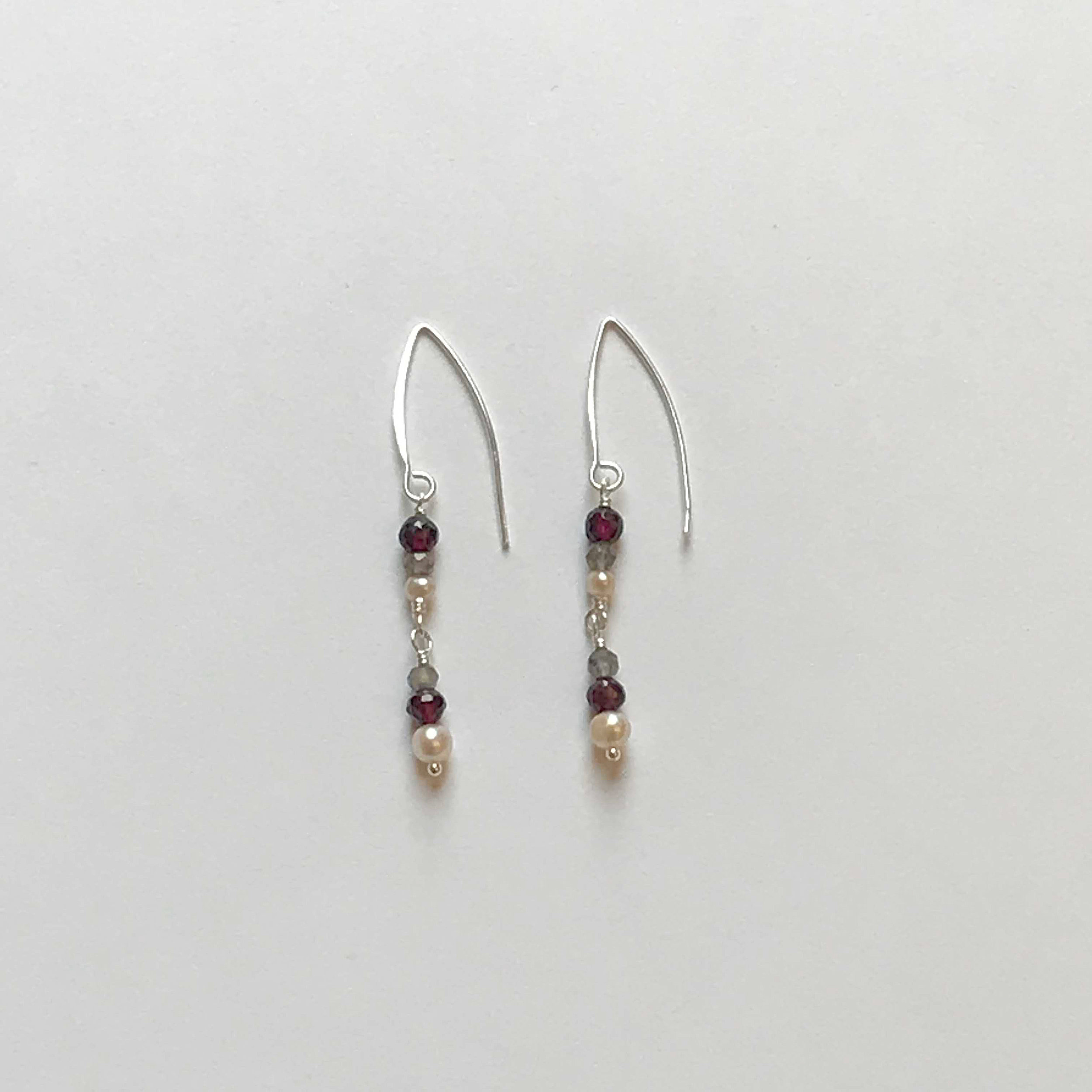 $90 Sterling Silver Garnet Fresh Water Pearl Labradorite Earrings