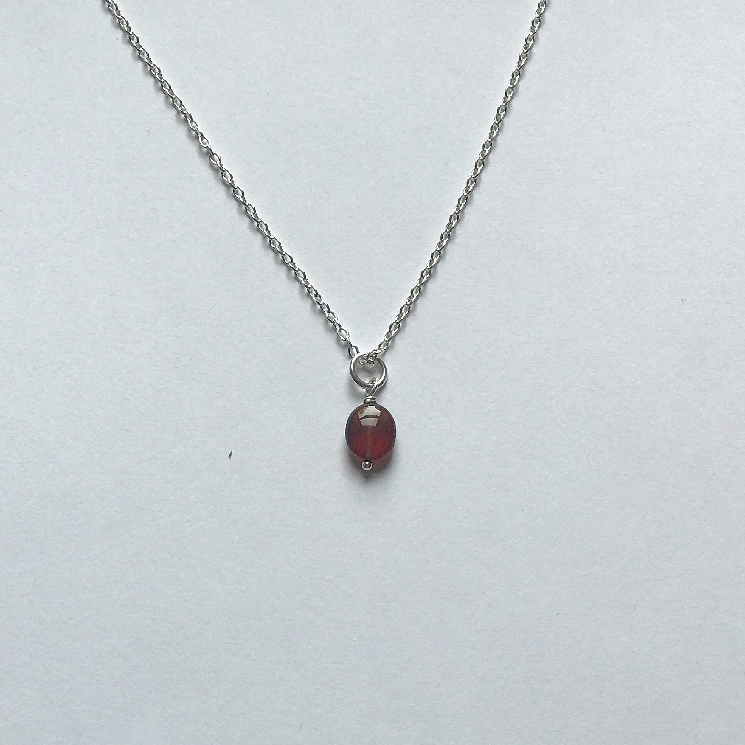 $175 Sterling Silver Garnet Necklace 16""