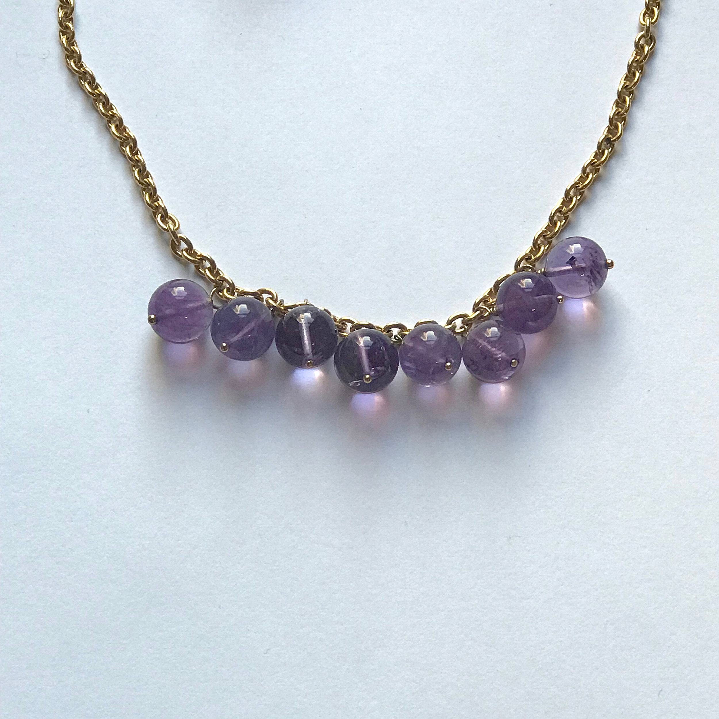"$250 Vermeil Amethyst Necklace 20"" Chain"