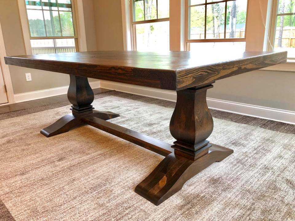 Beautiful, more formal table for a larger space. Top can be distressed more to give it an old world look. Needs to be a minimum of 6' for this base. $425 per foot (6' table is $2550) .  Matching bench is $900 for any length.