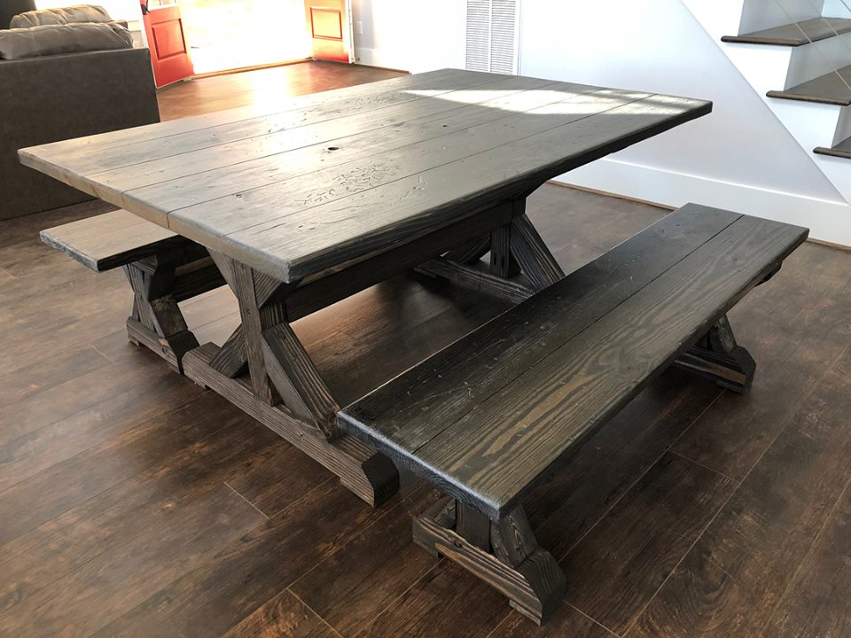 There are many versions of the Trestle table. If you find one on line that you like better, we are open to customizing it for you. This style is $350 per foot. (6' table would be $2100)  A crisscross/beam trestle table run $400 per foot.