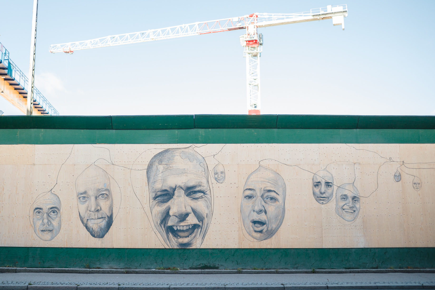 The walls that cover up construction sites in Copenhagen are decorated with amazing artwork.