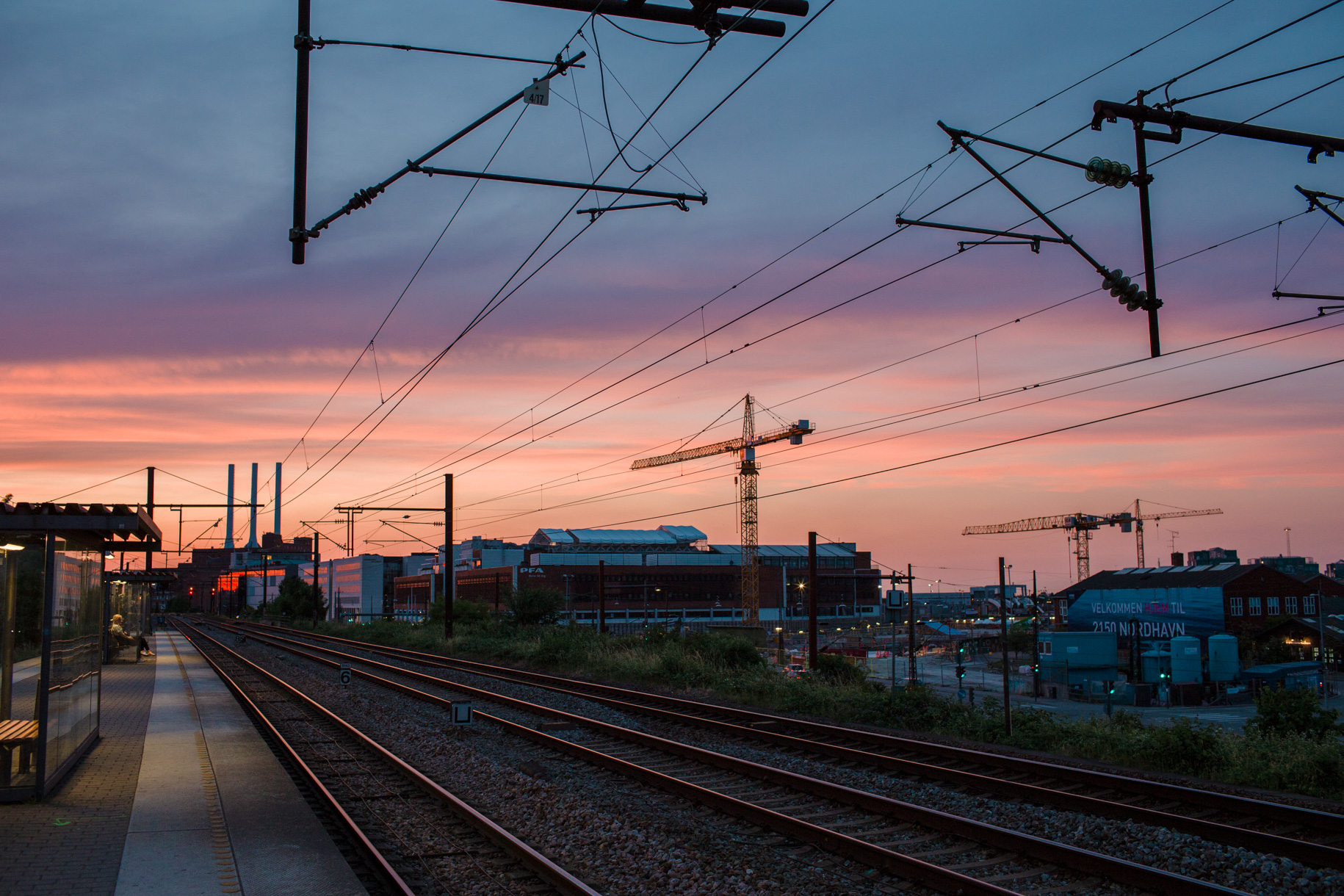 Sunset over Nordhavn Station in Copenhagen, Denmark