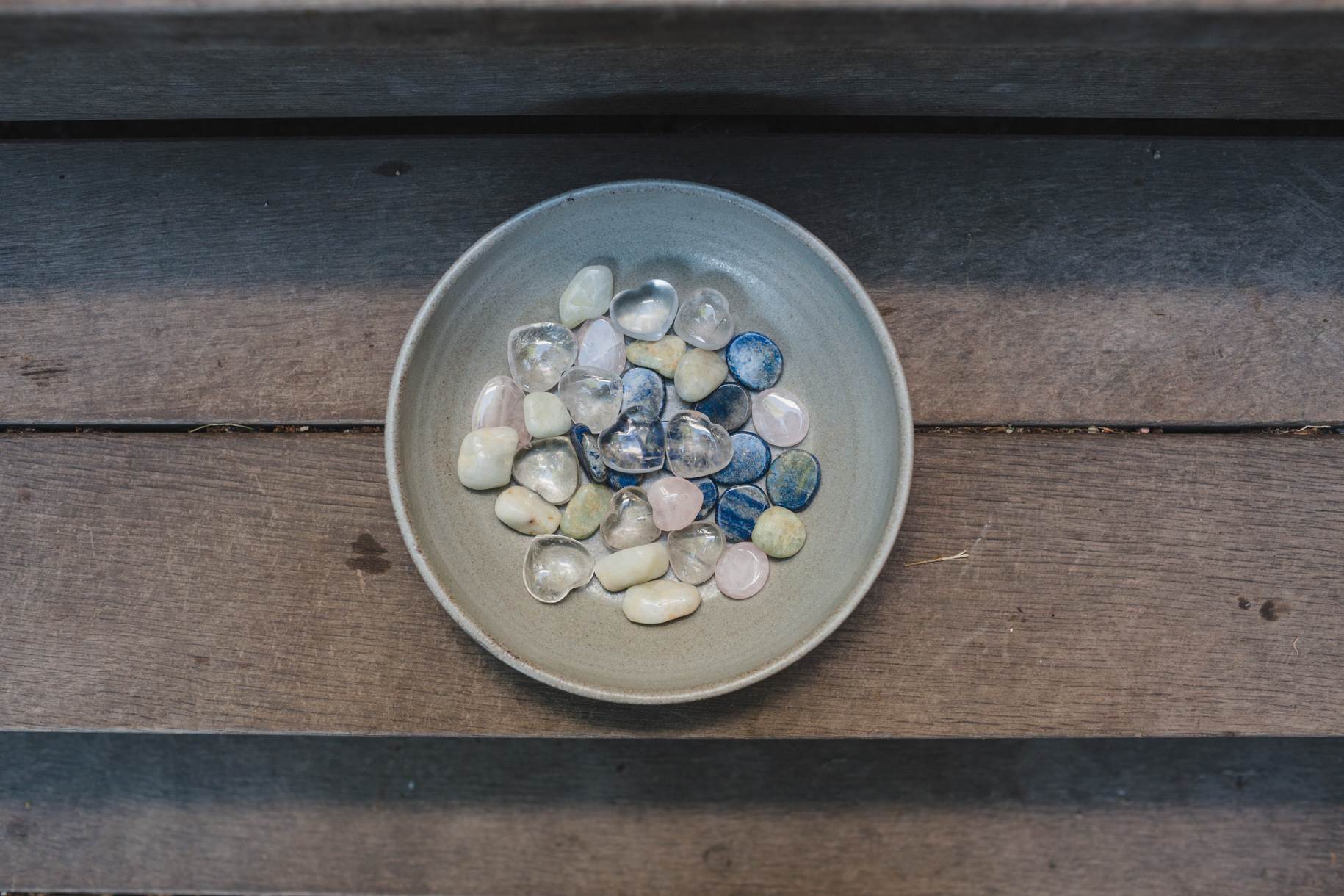 These stones were to be passed around at the ceremony. Each stone to be held by guests and filled with an intention for the couple. At the end of the ceremony, they would be collected and given back to the couple for them to put in their home as a reminder of the loving energy given to them that day.