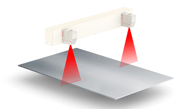 Width Gauge: Laser technology for measurements on metal strips and sheets in dusty environments without any device under the material.