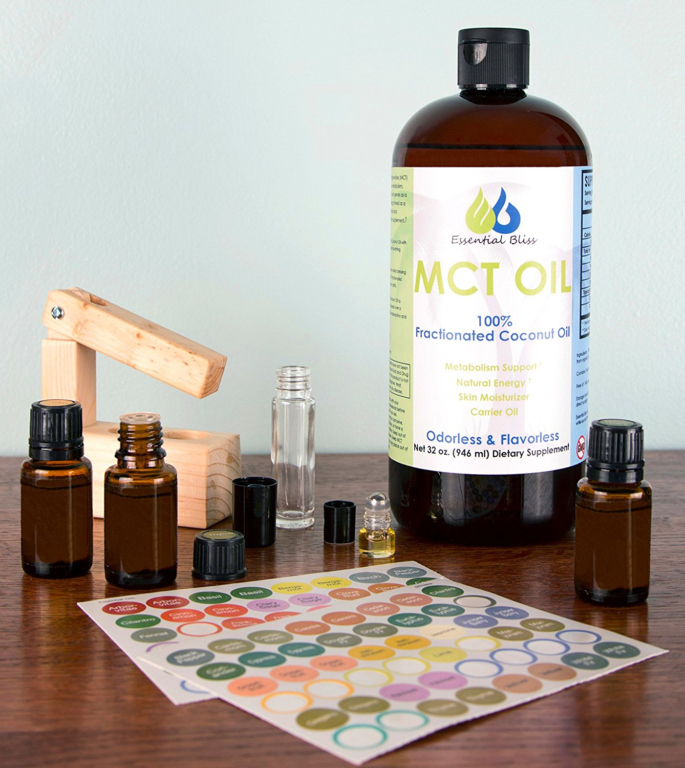 TOPICAL Carrier Oil - Essential Bliss MCT (Medium-chain Triglyceride) may be used with essential oils topically for essential oil rollers, sprayers, salves, etc. Essential oils absorb best with the use of a topical carrier oil by slowing the absorption and increasing the duration of the desired therapeutic effect through the skin. Using a carrier oil also provides a safer way to apply an essential oil to children, sensitive, or aging skin for effective diluting and moisturizing.INGESTIBLE Carrier Oil: Essential Bliss MCT may be ingested to help slow the absorption rate and lengthen the duration of benefit when taking essential oils by mouth as well. When ingesting, only use high quality essential oils with an FDA supplemental facts usage label identifying it as an ingestible product. There is no coconut flavor or smell to the Essential Bliss MCT Oil which provides a smooth hot or cold drink, gargle, spray, etc. by mouth. MCT may be added to empty veggie capsules to assist the digestive process of an essential oil. MCT also calms oil burps and eses the bite of a spicy, hot, or strong flavored essential oil. Remember to always use glass or stainless steel container, utensil, and/or straw when using MCT for drinking.