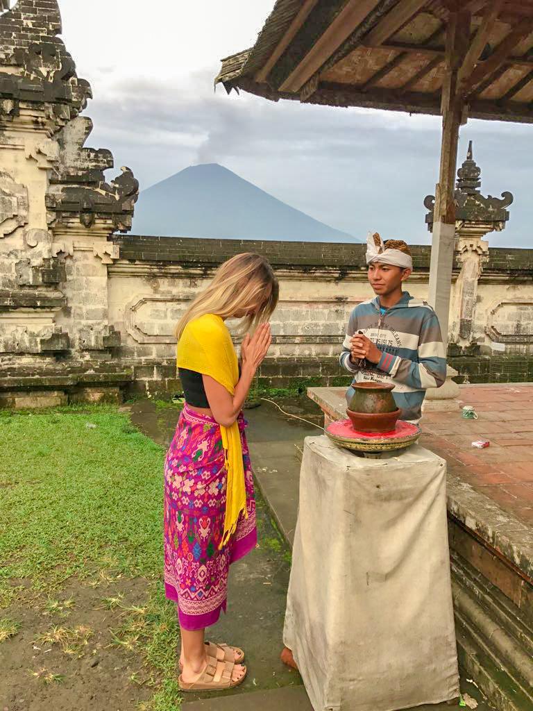 Blessing at Pura Lempuyang Luhur
