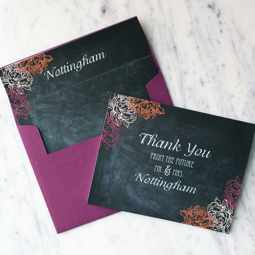 Chalkboard Lilac Personalized Wedding Thank You Cards