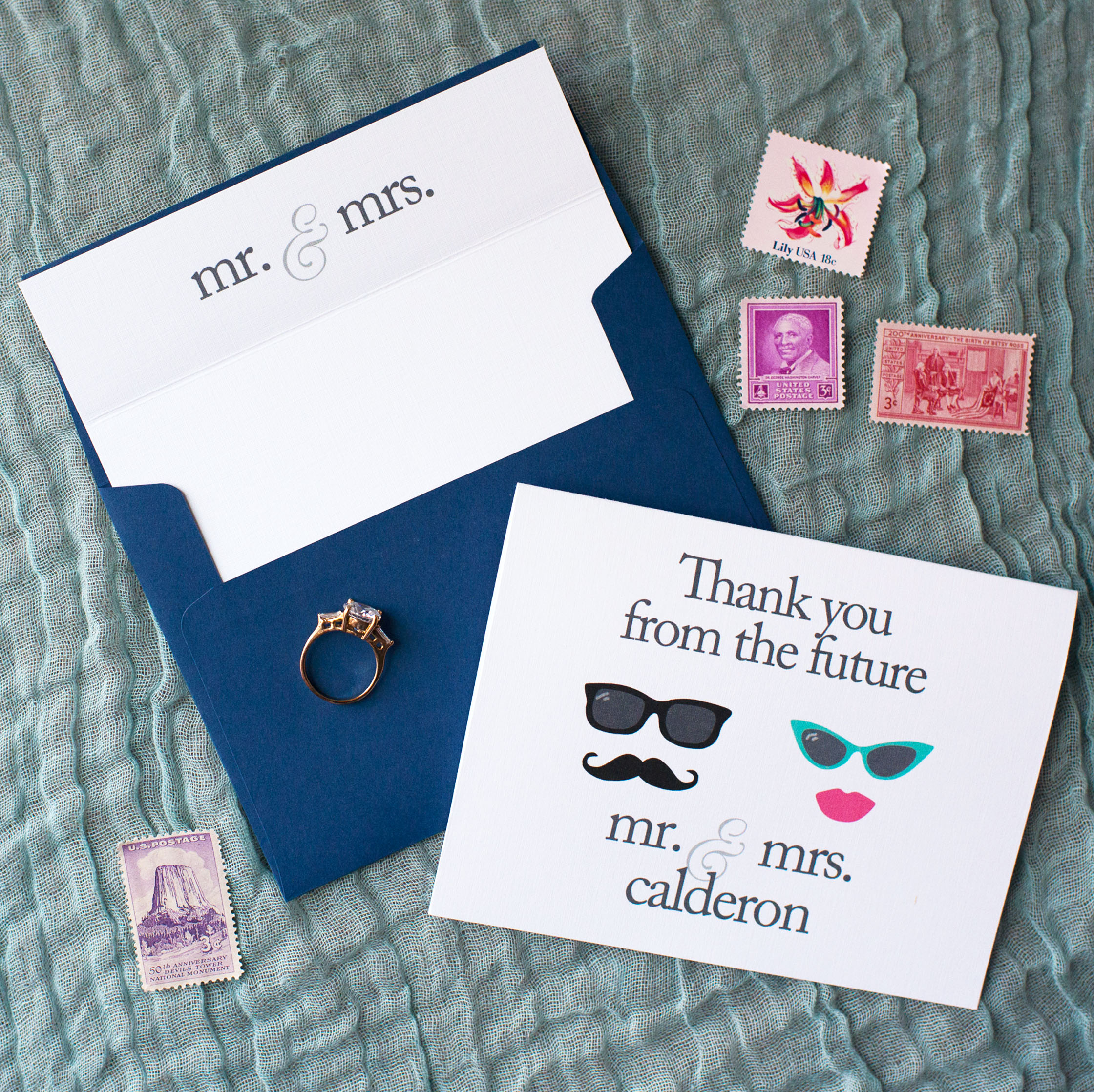 Thank You From The Future Mr. & Mrs. Personalized Vintage Stationery Set