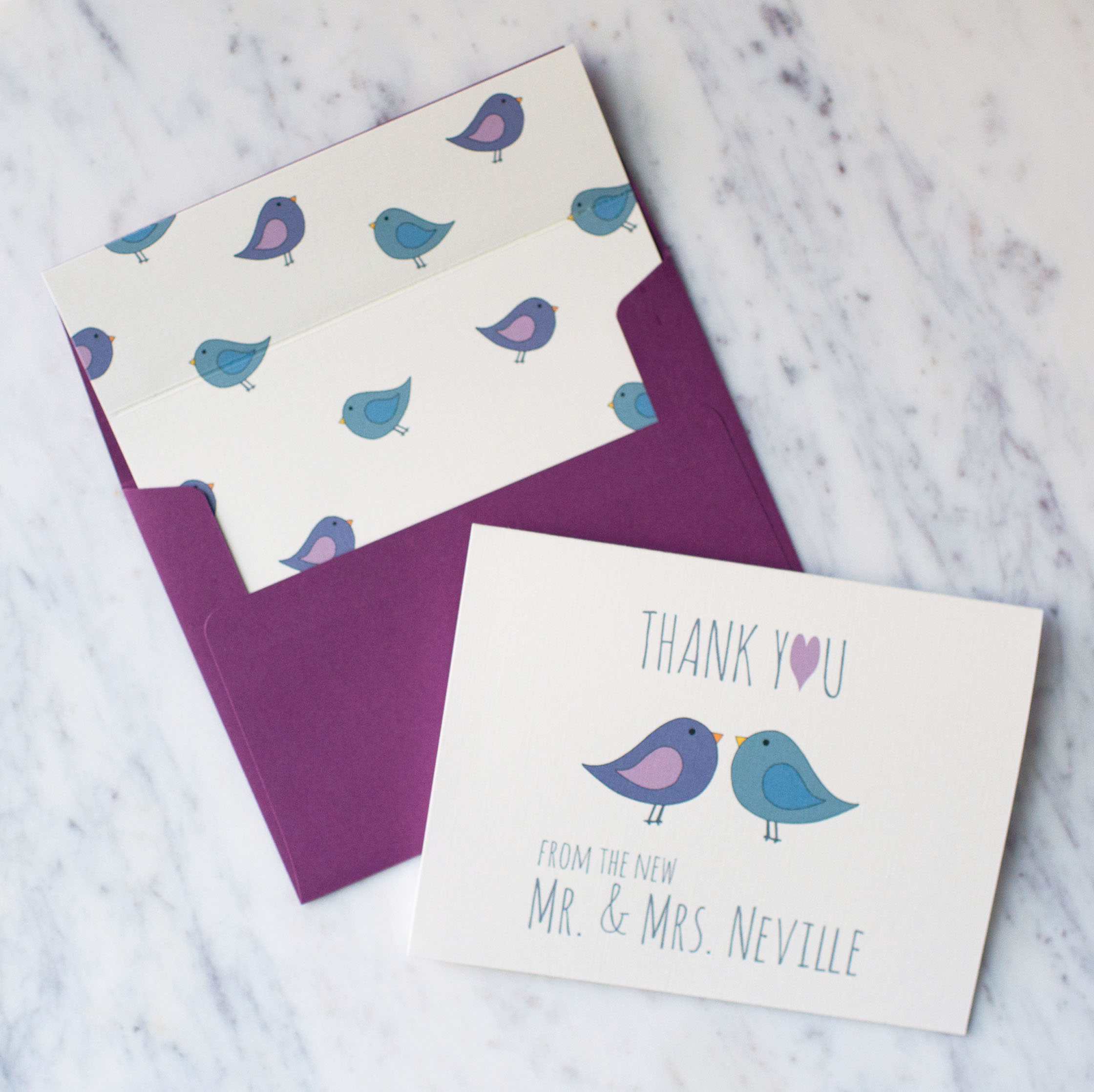 Thank You From The New Love Birds Stationery Set in Ivory