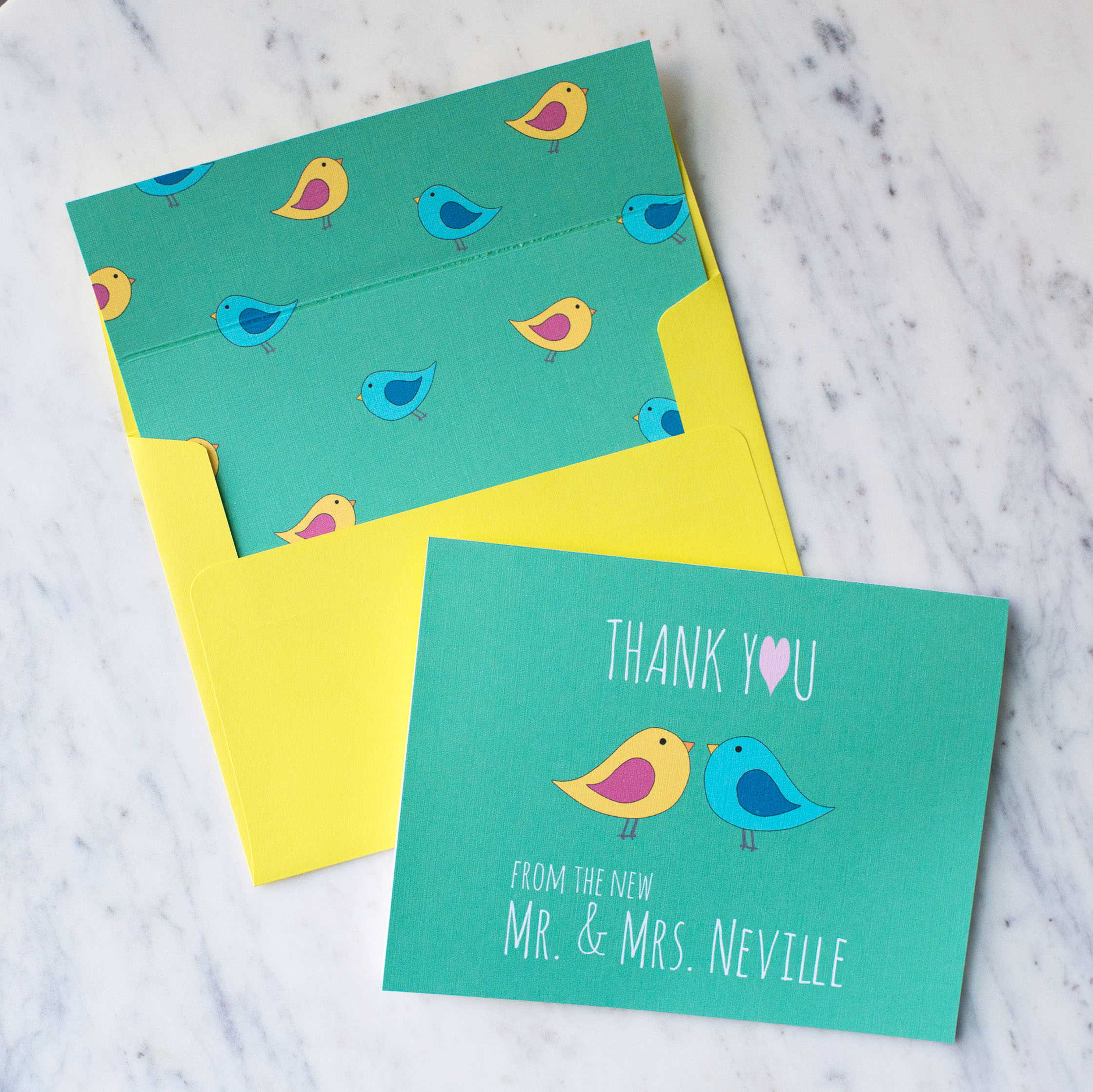 Thank You From The New Love Birds Stationery Set in Green