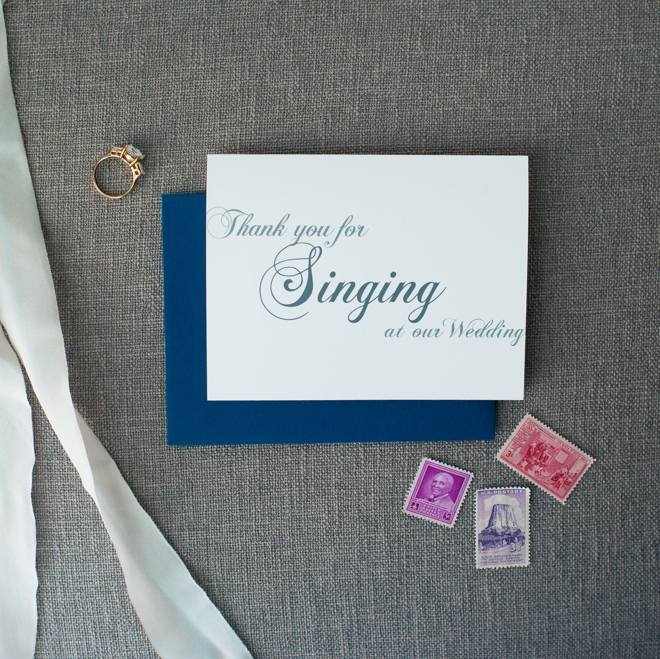 Thank You For Singing At Our Wedding Card