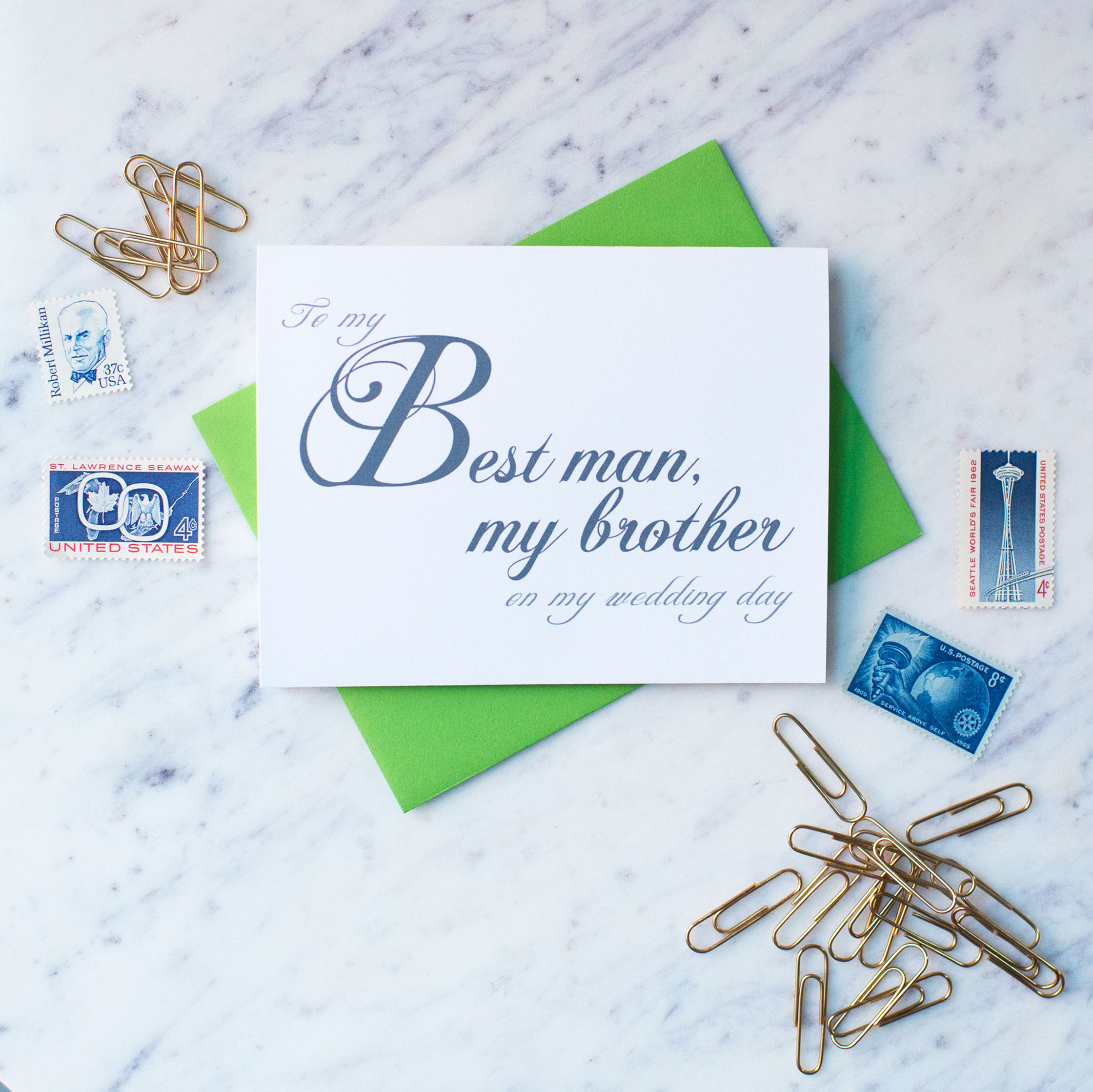 To My Best Man, My Brother On My Wedding Day Card