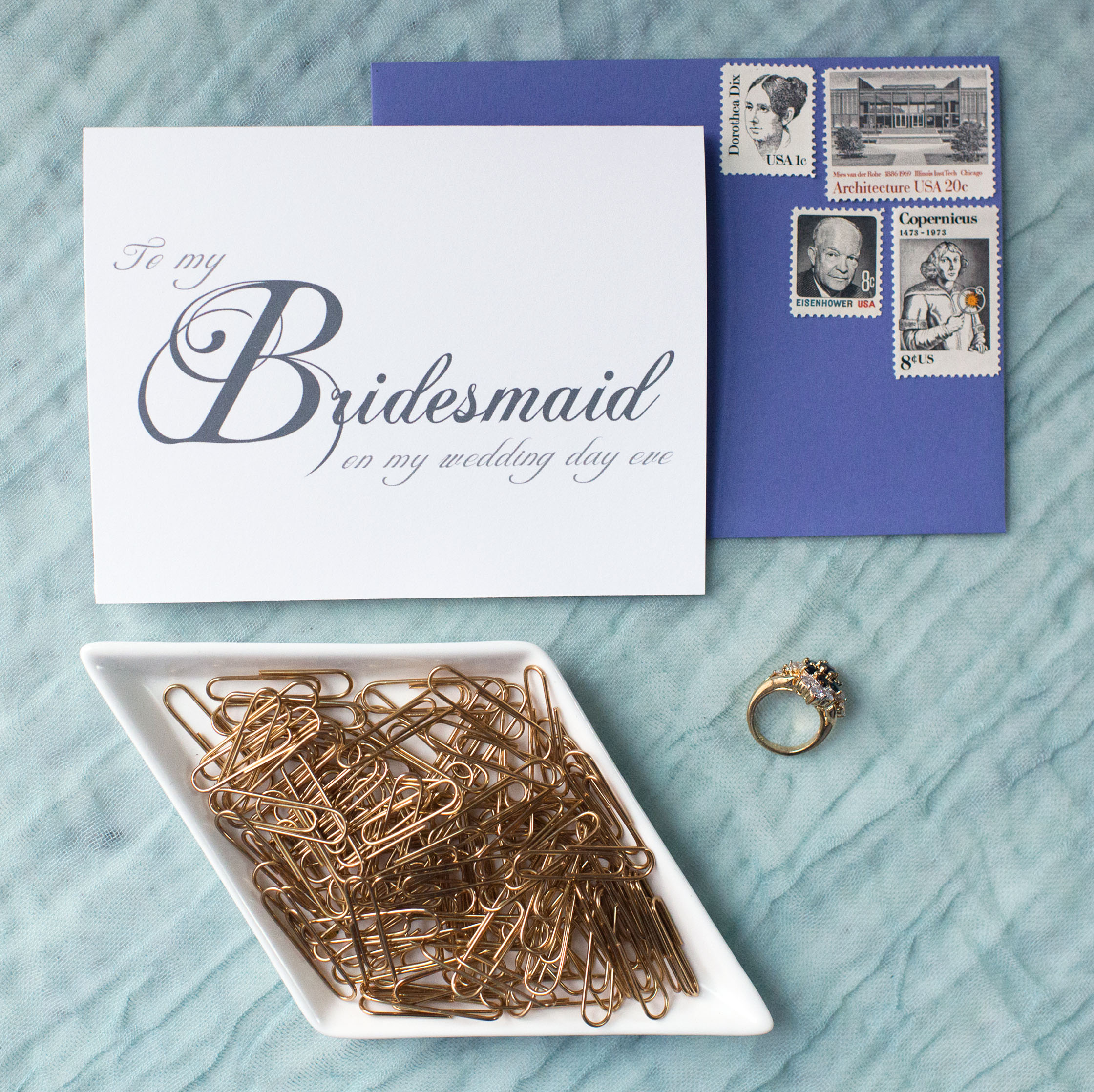 To My Bridesmaid On My Wedding Day Eve Card