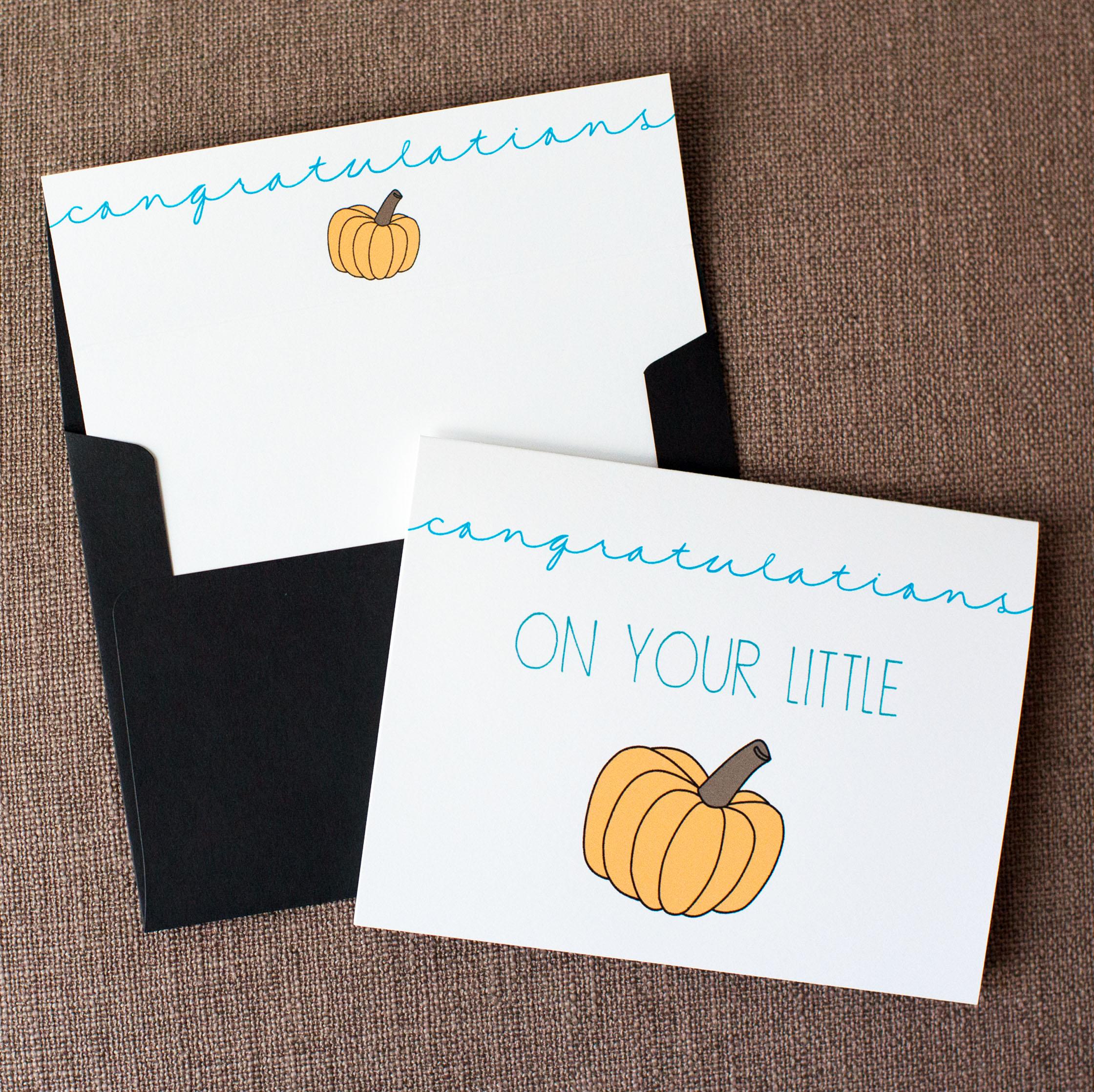 Congratulations On Your Little Pumpkin - Blue Card